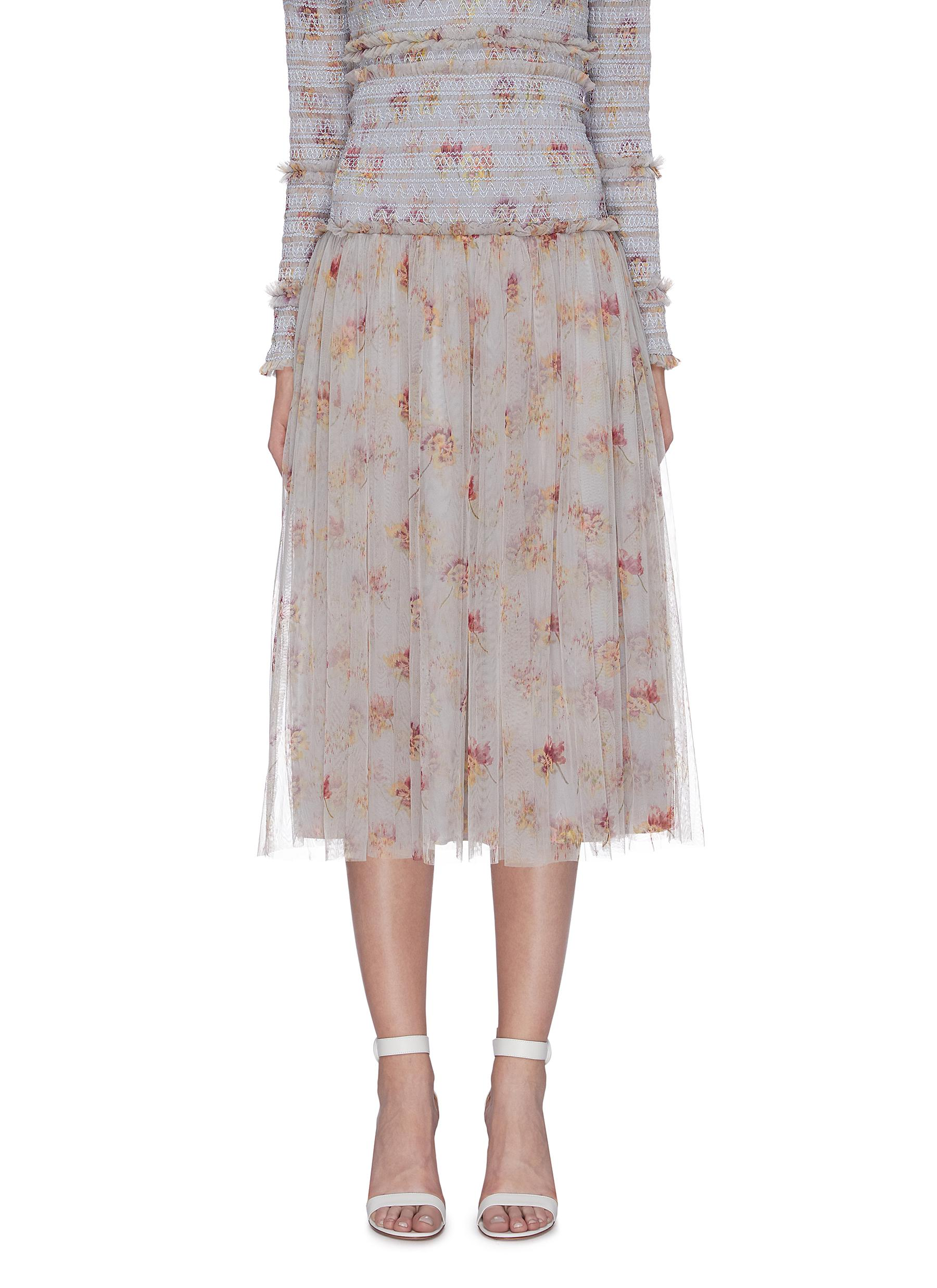 Think Of Me smocked waist floral print tulle skirt by Needle & Thread