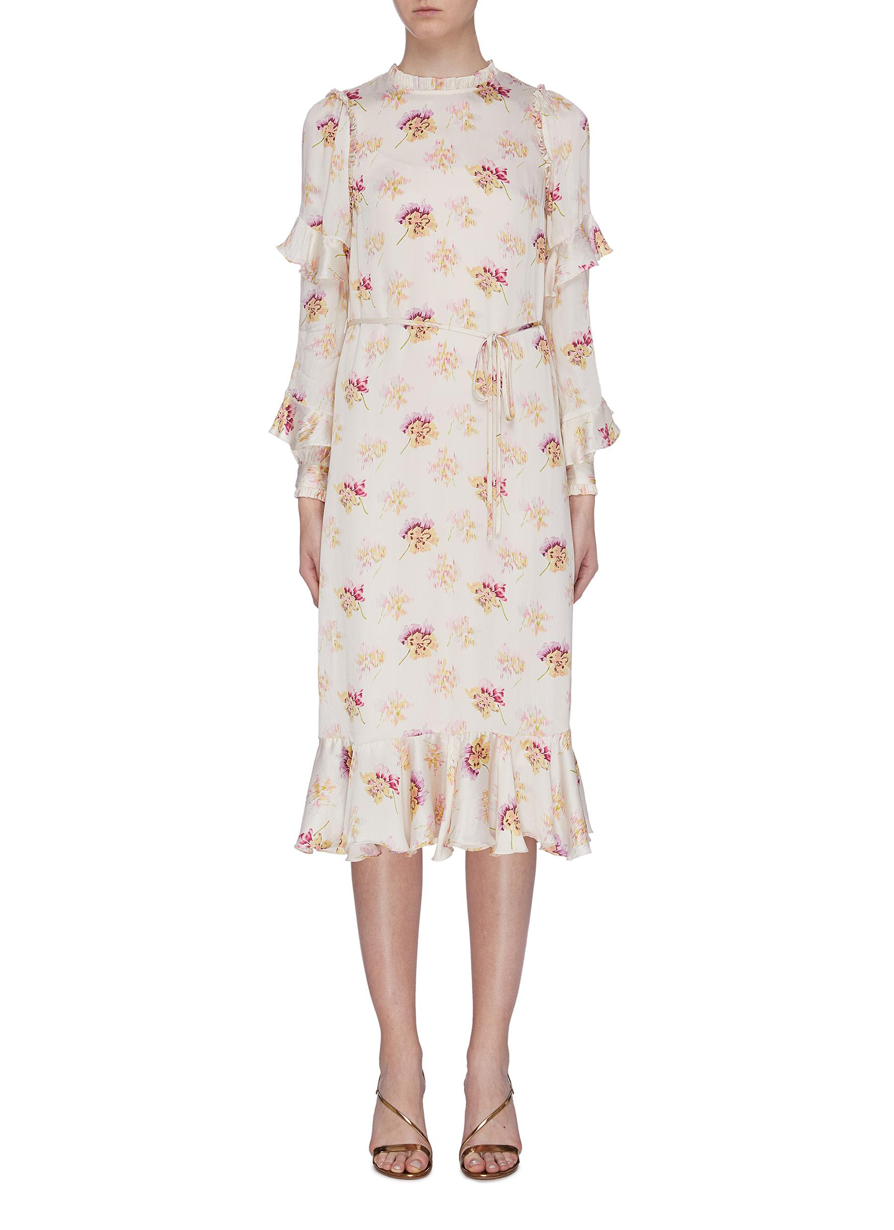 Bessie ruffle sleeve floral print satin dress by Needle & Thread