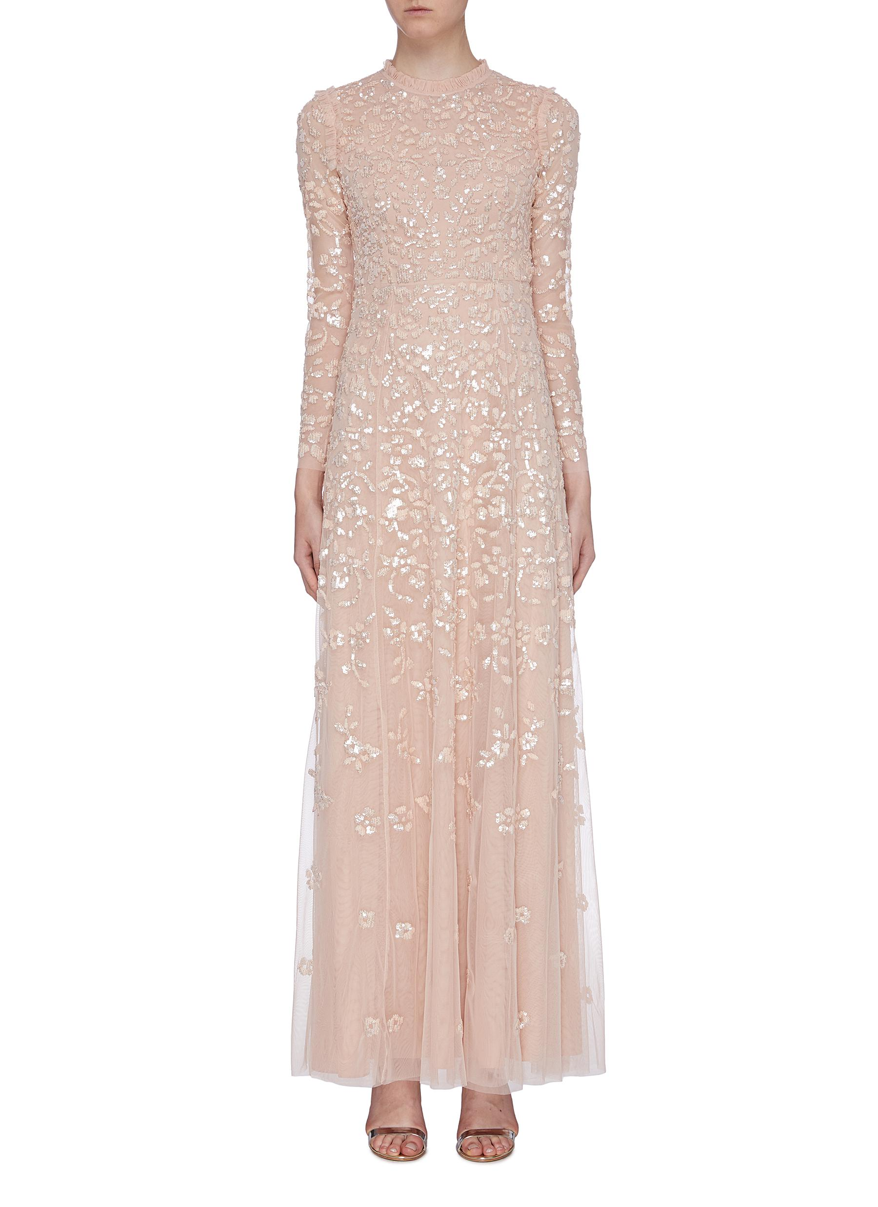 Rosmund sequin floral tulle gown by Needle & Thread