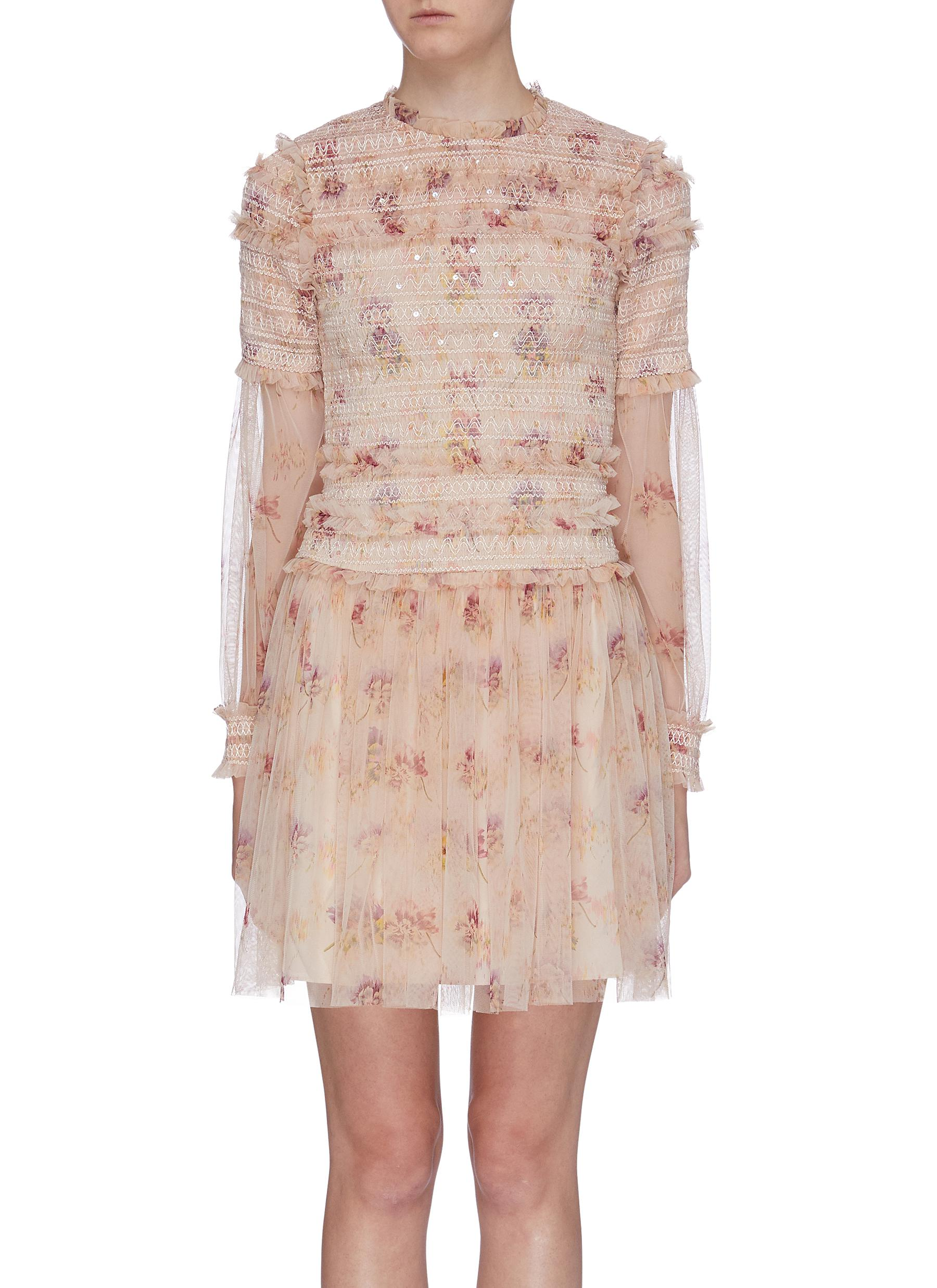 Think Of Me ruffle smocked floral print tulle dress by Needle & Thread