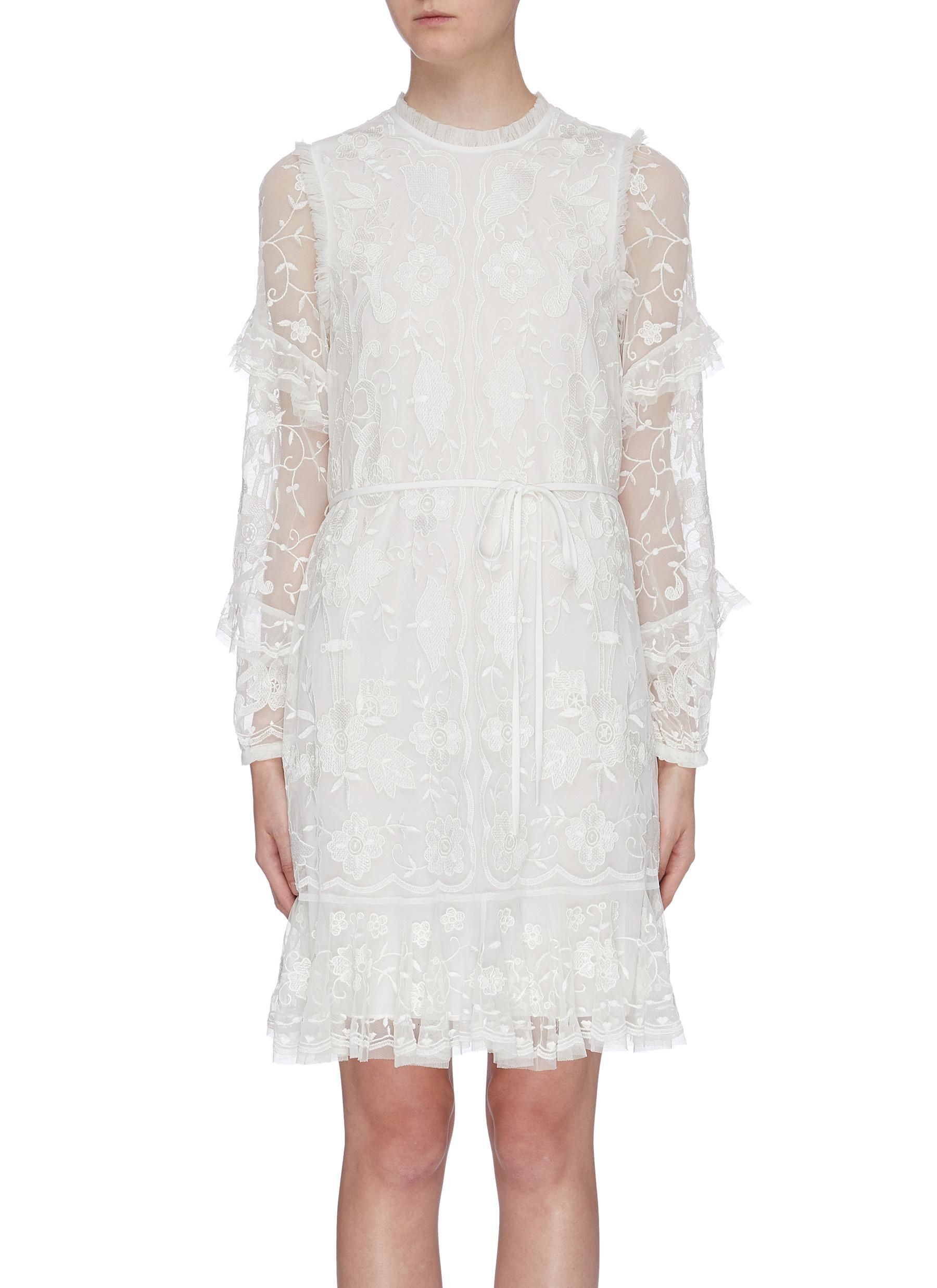 Ellie ruffle sleeve floral embroidered tulle dress by Needle & Thread