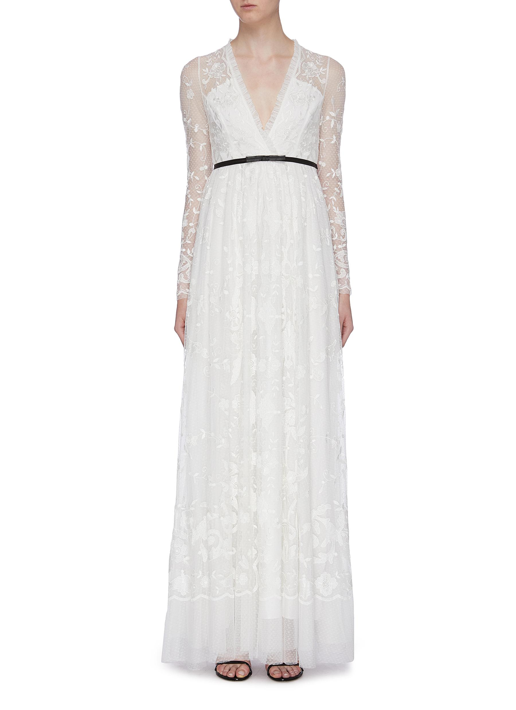 Eleanor floral embroidered mock wrap tulle gown by Needle & Thread