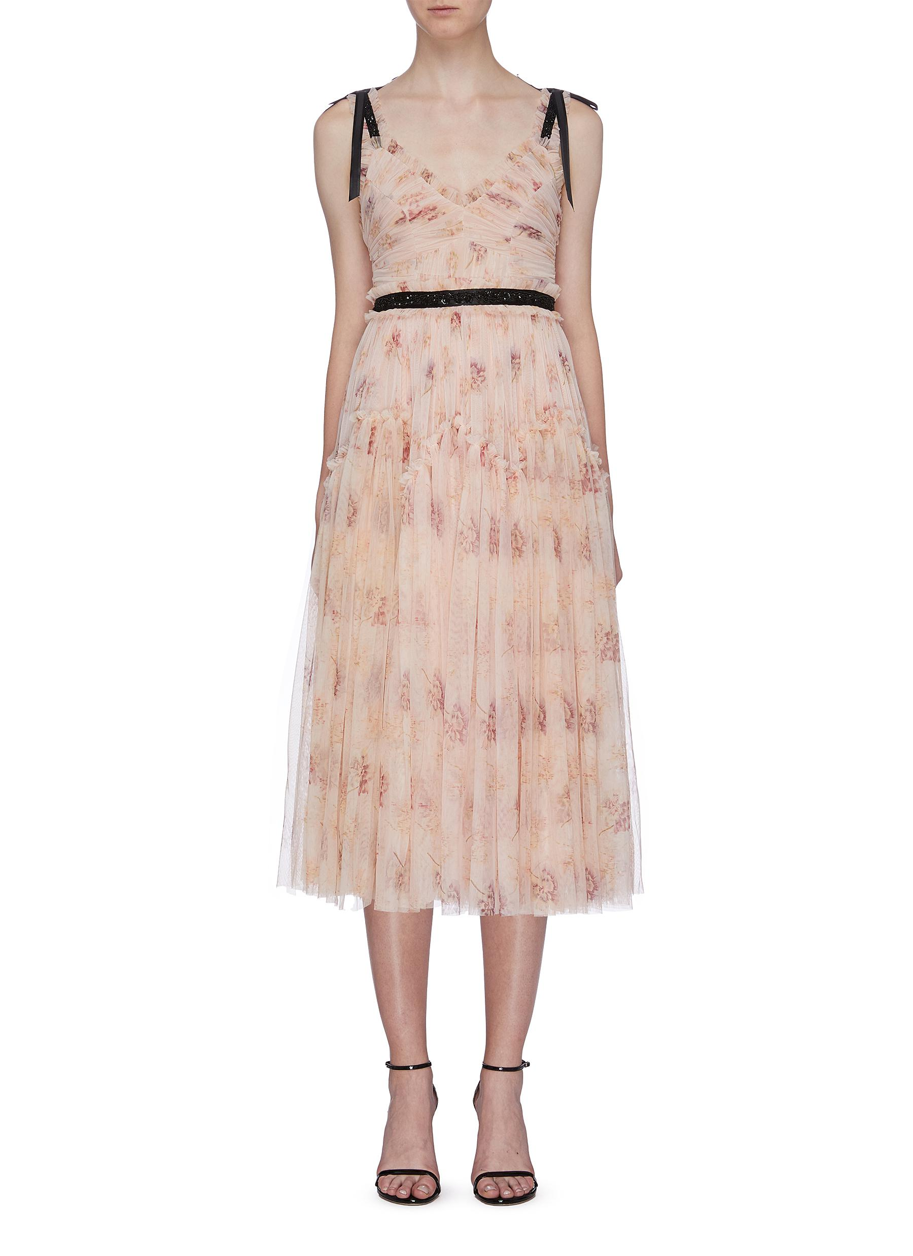 Think Of Me Arabesque pleated floral print tulle dress by Needle & Thread