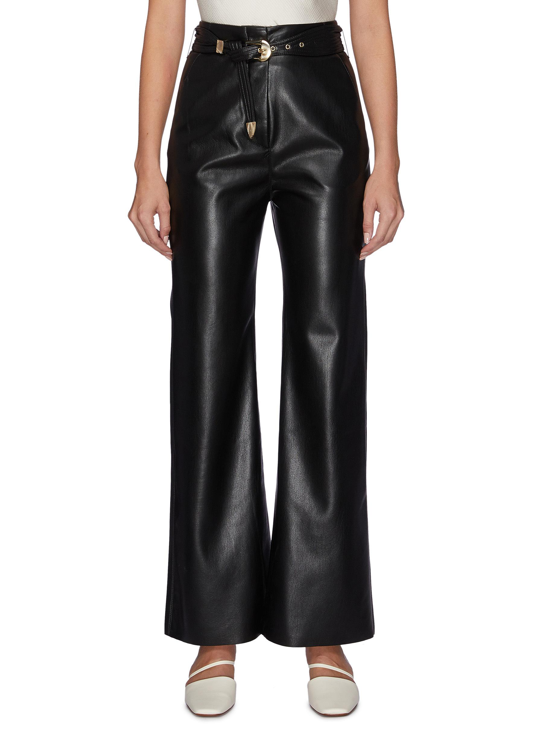 Kisa belted vegan leather pants by Nanushka
