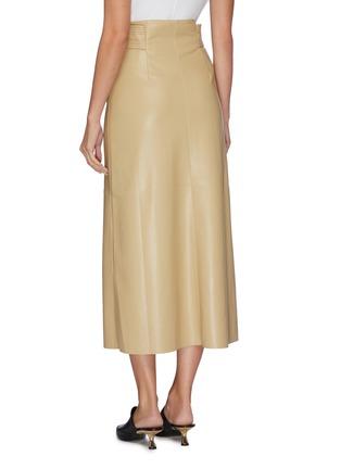 Back View - Click To Enlarge - NANUSHKA - Knot front vegan leather midi skirt