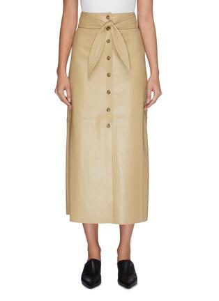 Main View - Click To Enlarge - NANUSHKA - Knot front vegan leather midi skirt