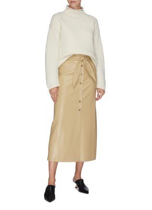 Figure View - Click To Enlarge - NANUSHKA - Knot front vegan leather midi skirt