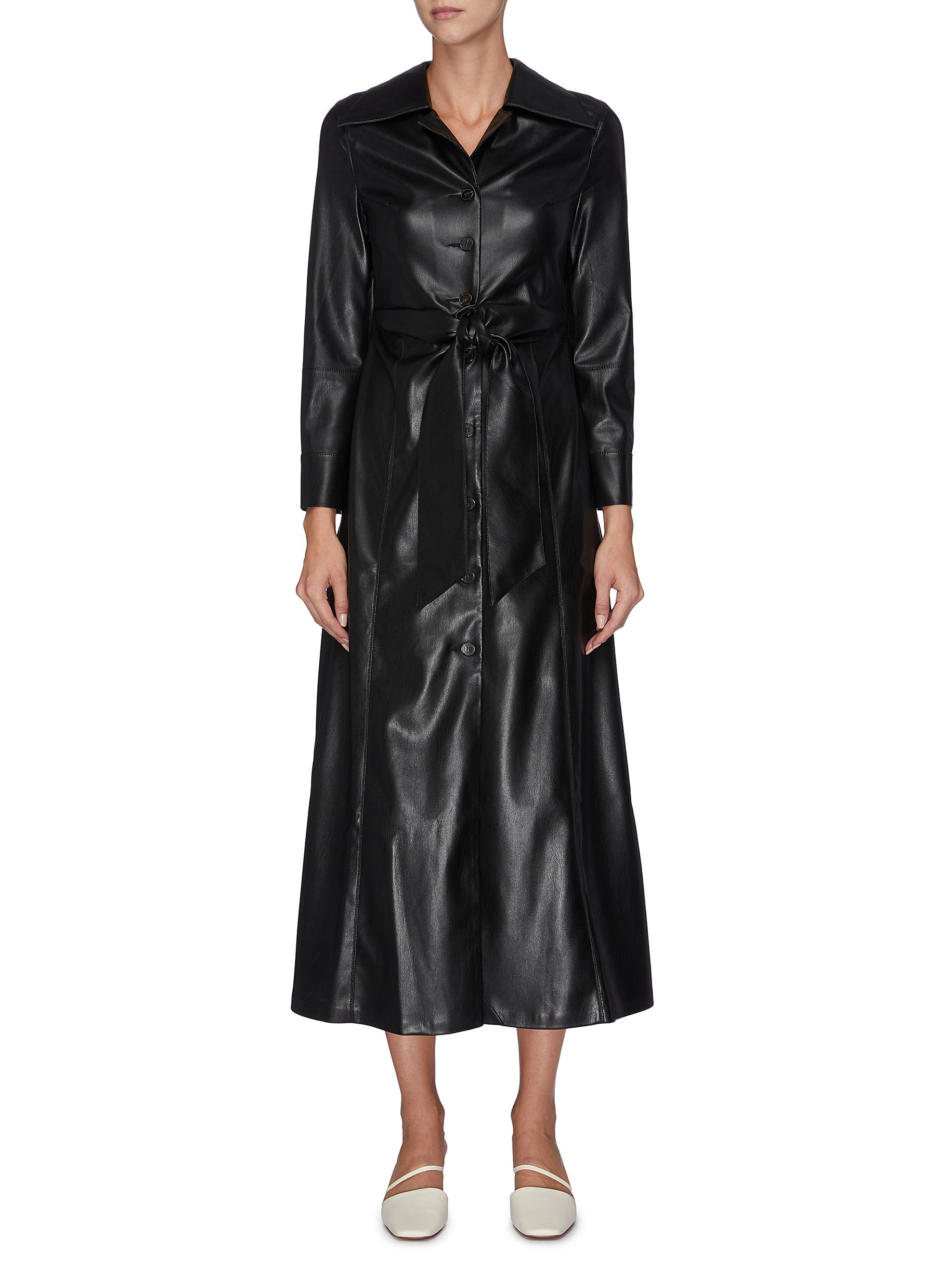 Tarot belted vegan leather dress by Nanushka