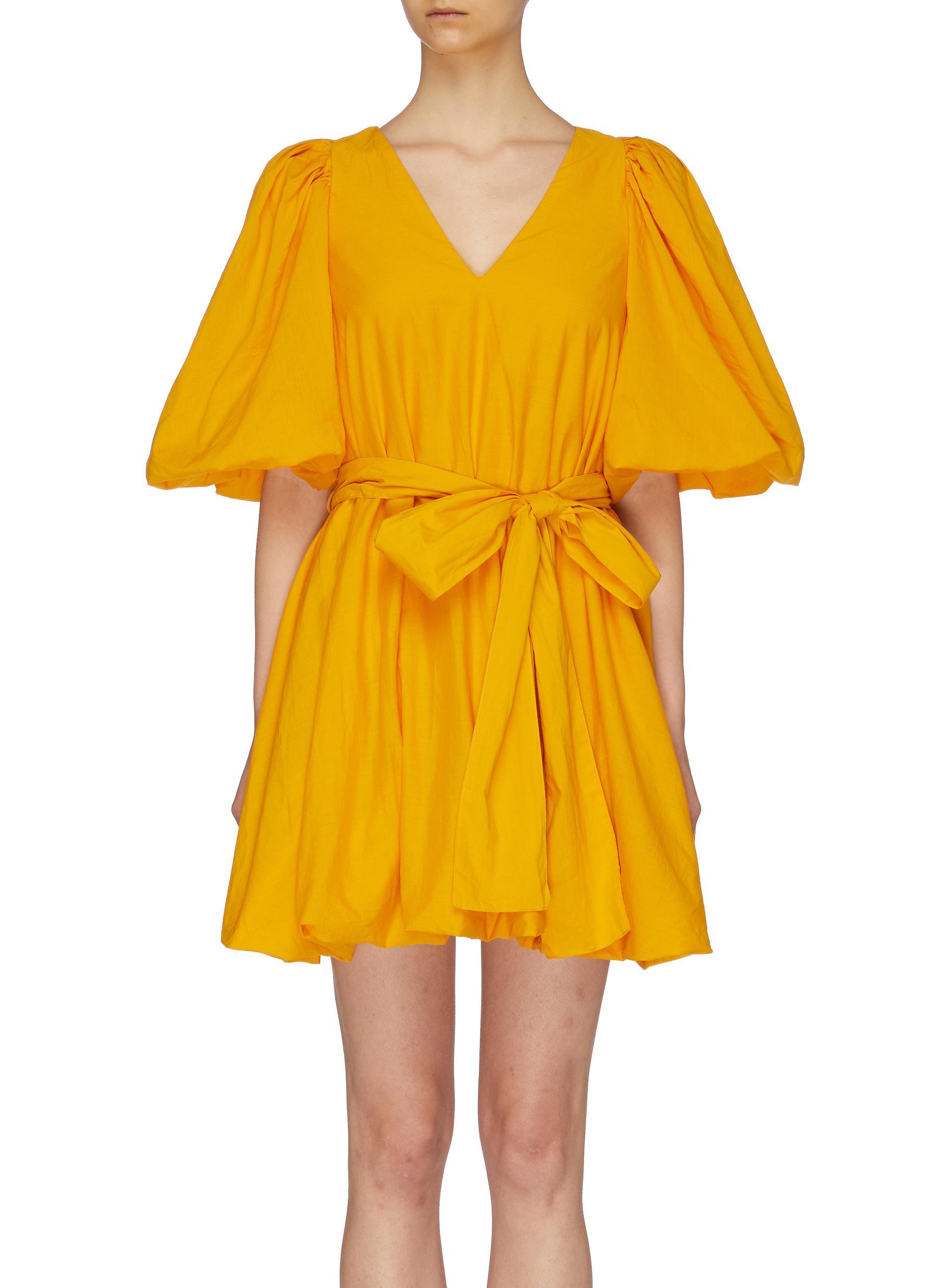 Marni belted puff sleeve bubble hem dress by Rhode Resort