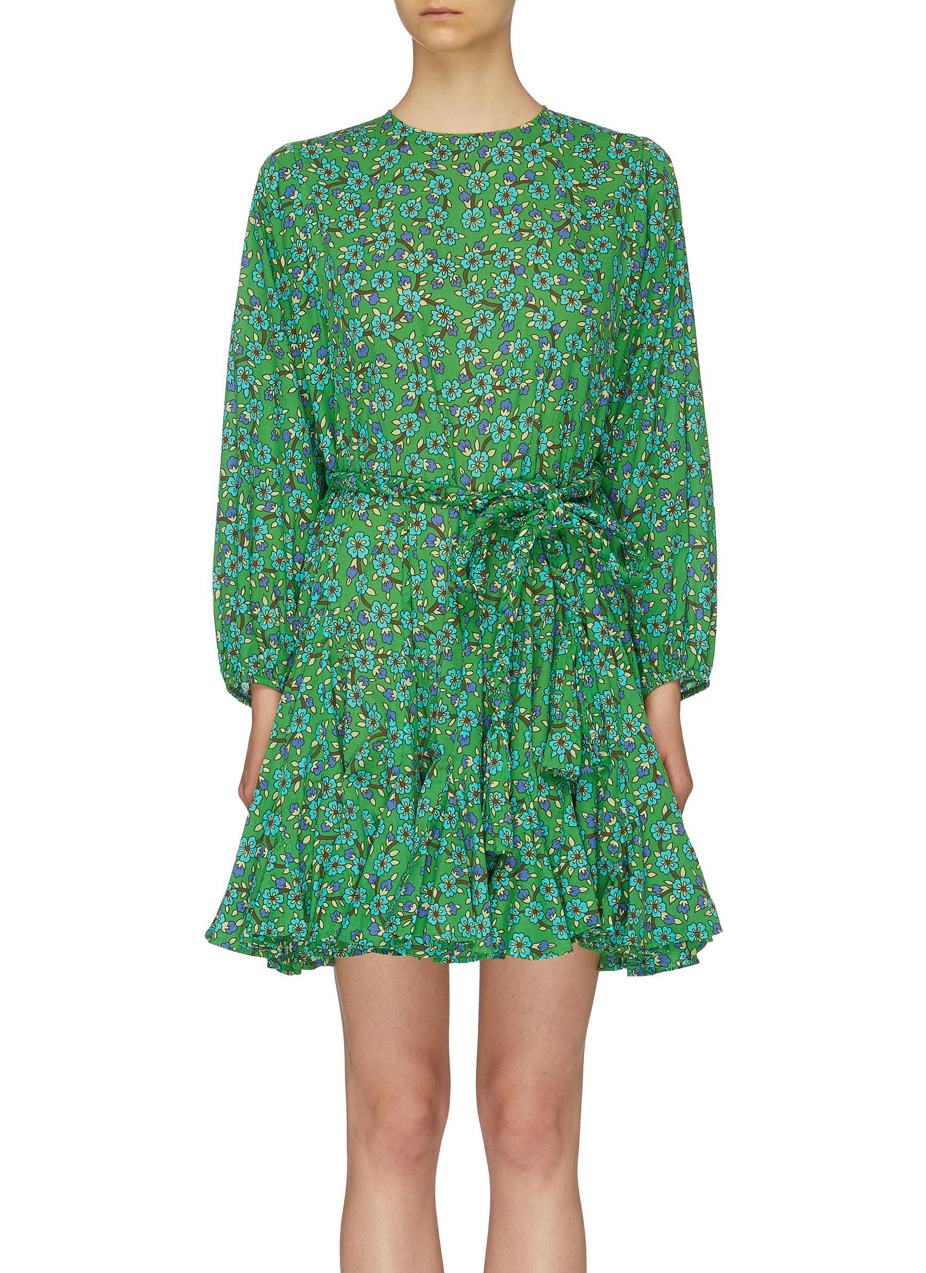 Ella belted flared ditsy floral print dress by Rhode Resort