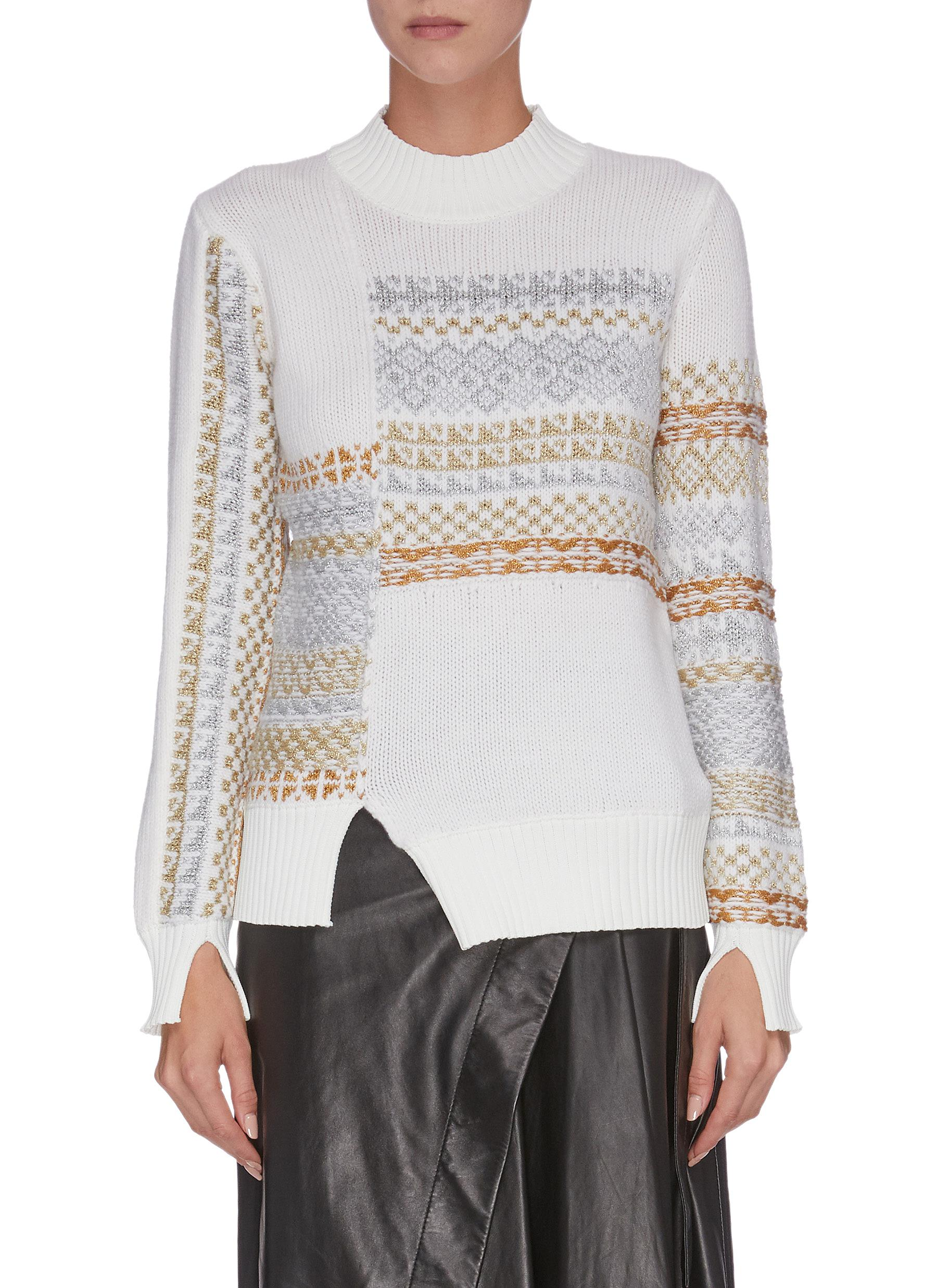 Buy 3.1 Phillip Lim Knitwear 'Fairisle' panelled patchwork slit cuff sweater