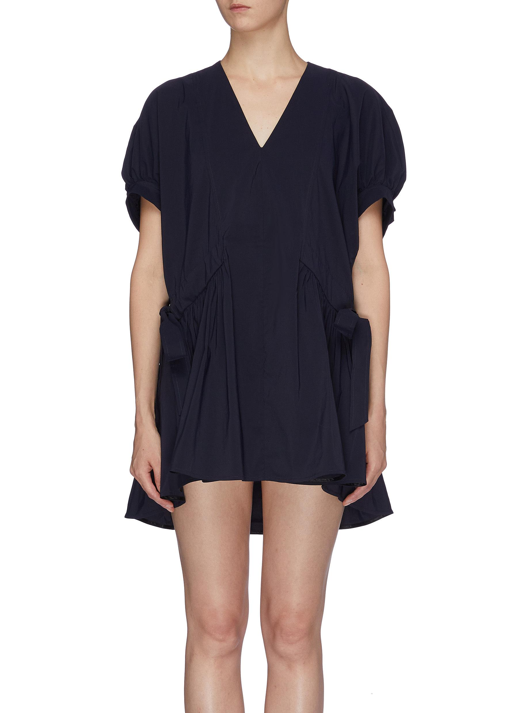 Ruched tie side puff sleeve V-neck dress by Short Sentence