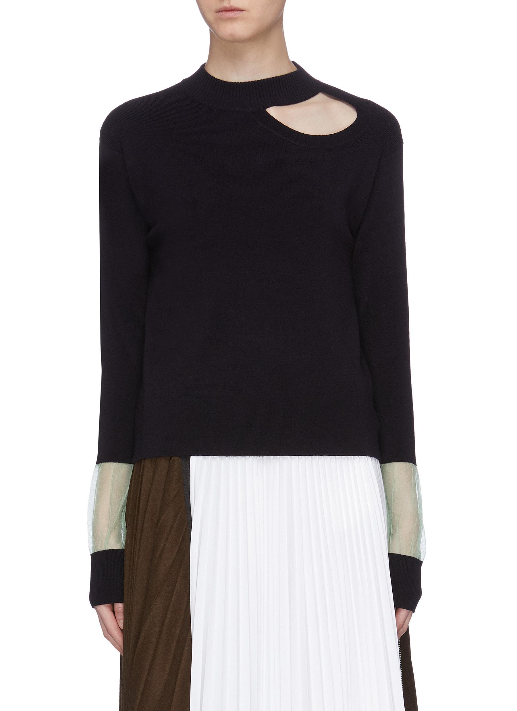 Cutout shoulder mesh cuff sweater by Short Sentence