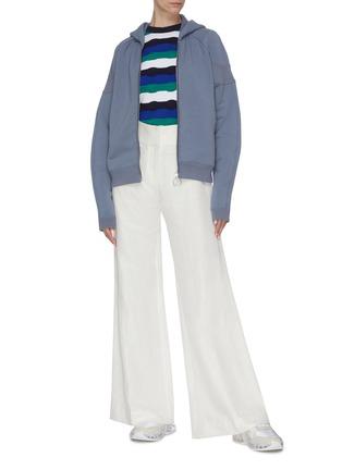 Figure View - Click To Enlarge - SHORT SENTENCE - Ribbed sleeve panel zip hoodie