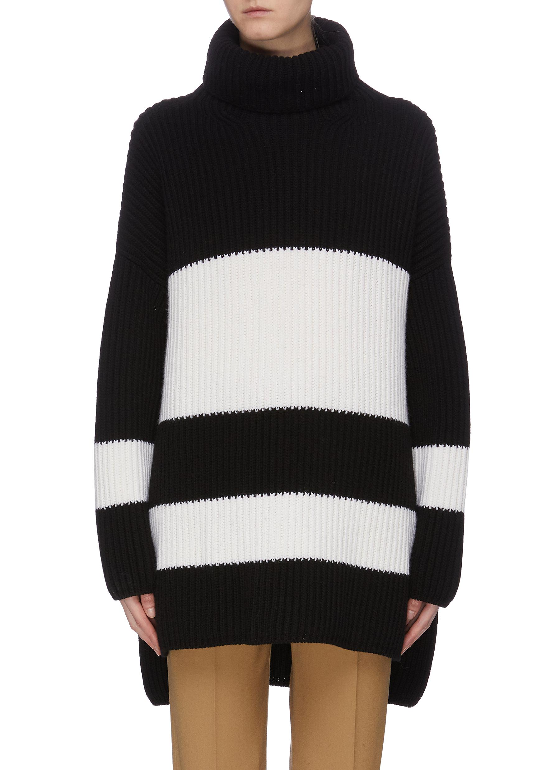 Colourblock high-low turtleneck poncho sweater by Joseph