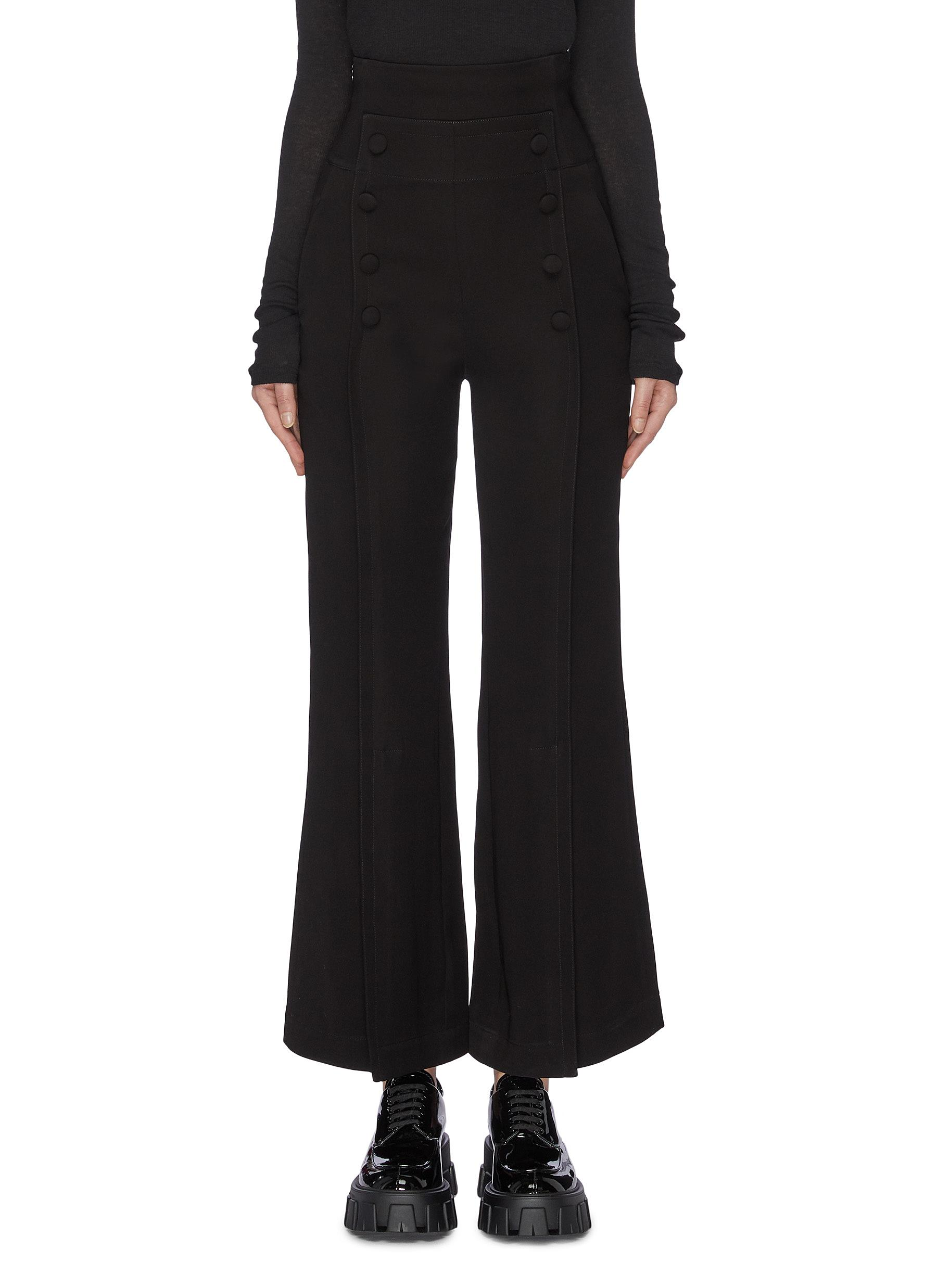 Pintuck mock button front flared pants by Sans Titre