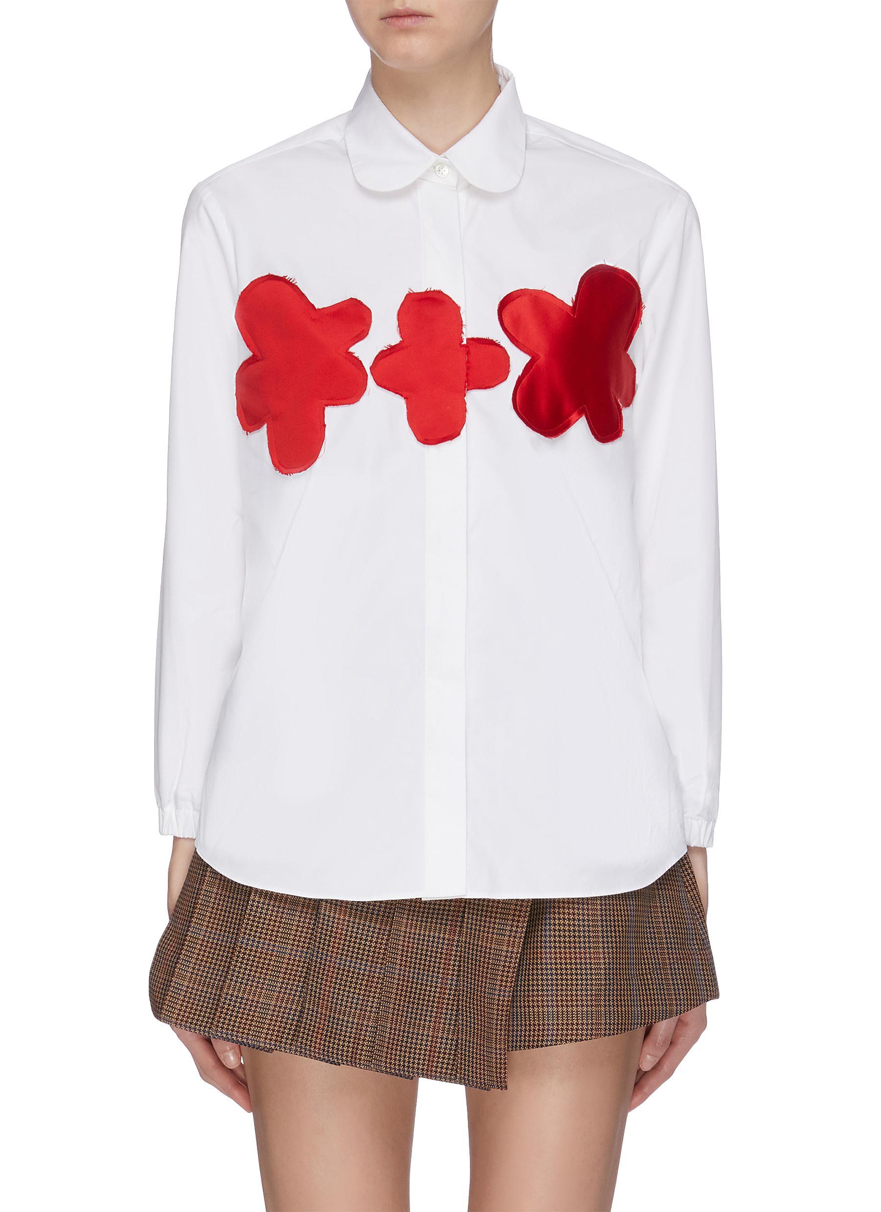 Satin floral patch Peter Pan collar shirt by Shushu/Tong