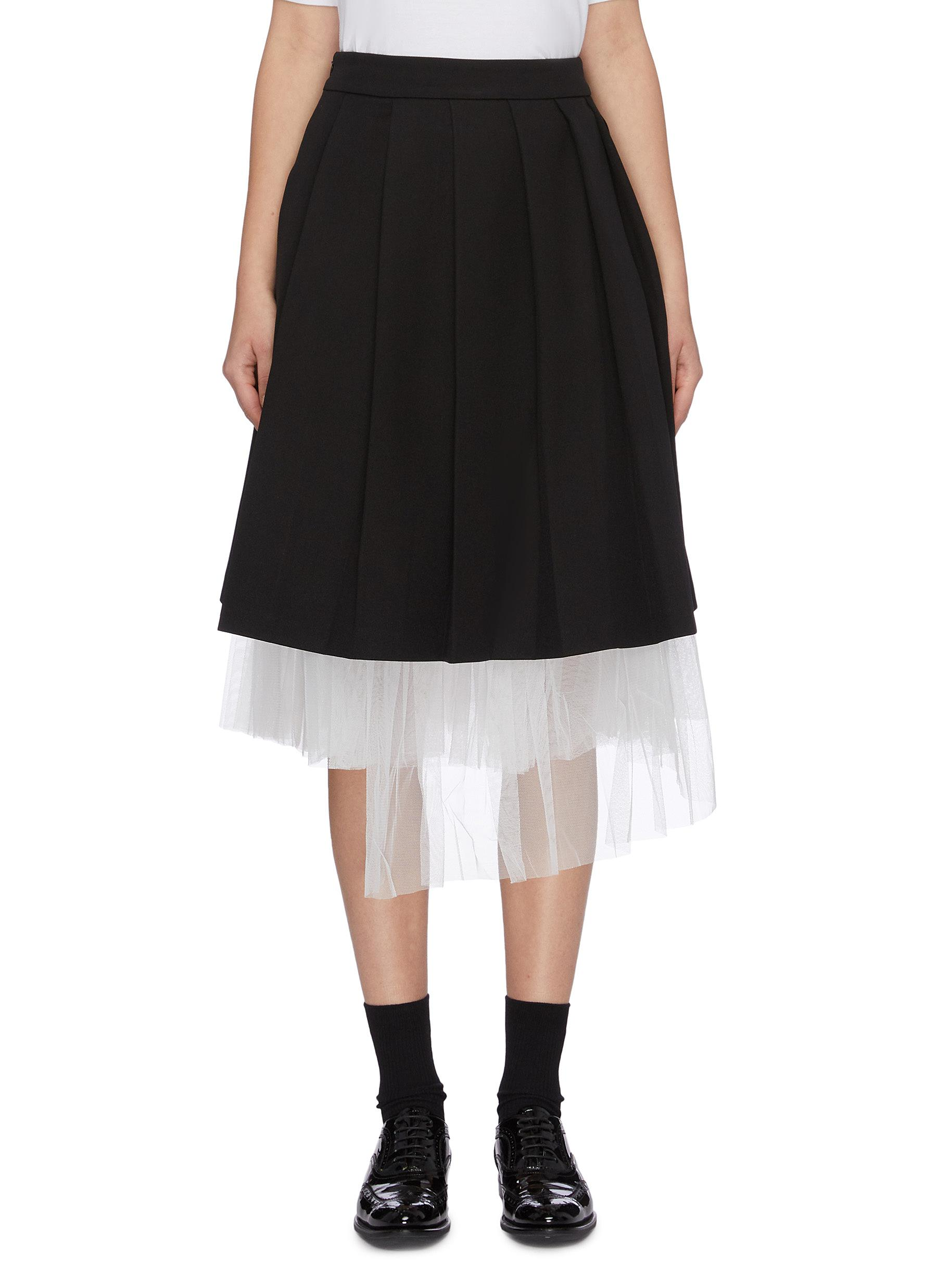 Tulle underlay pleated skirt by Shushu/Tong
