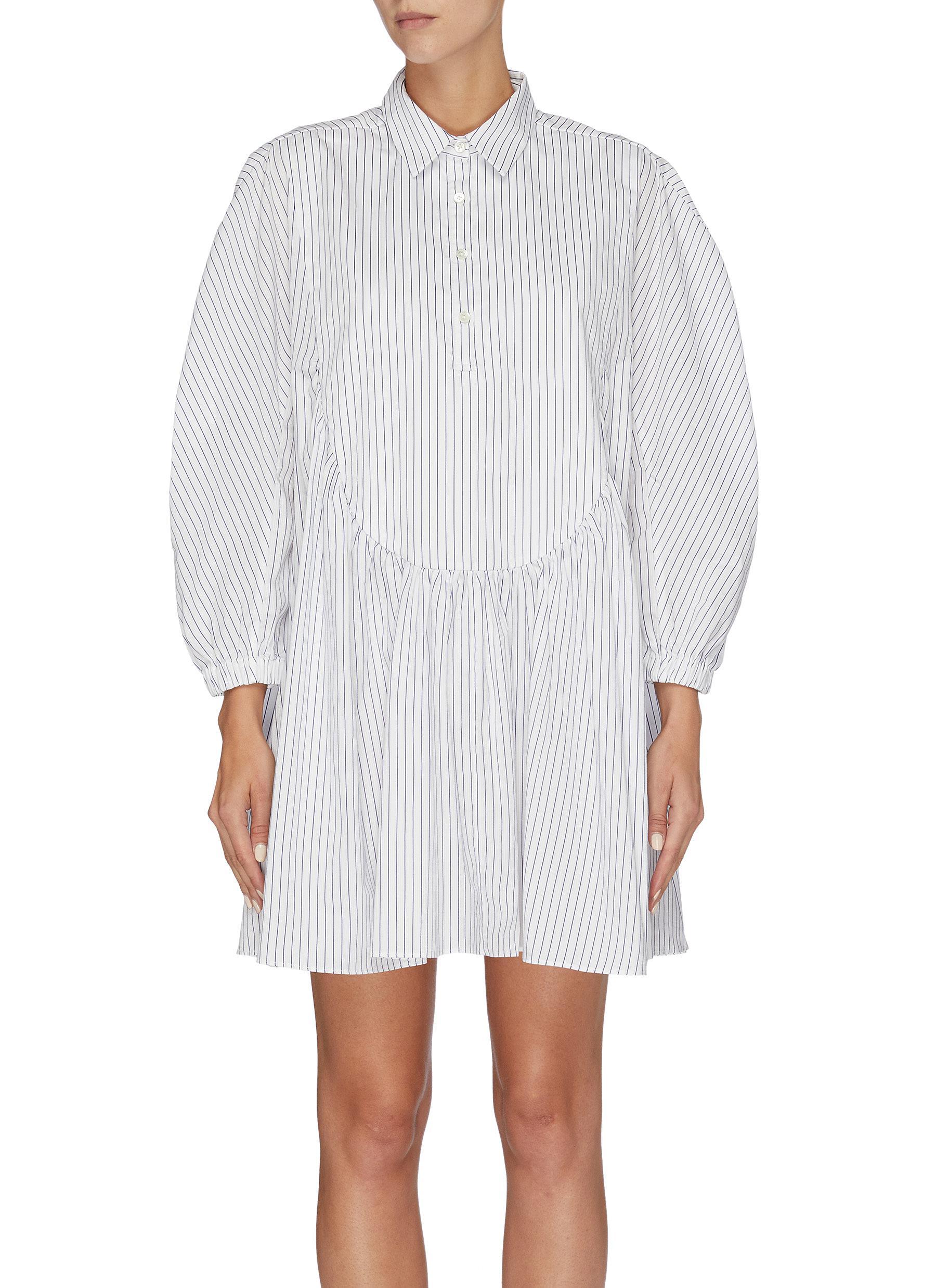 Puff sleeve pinstripe shirt dress by Shushu/Tong