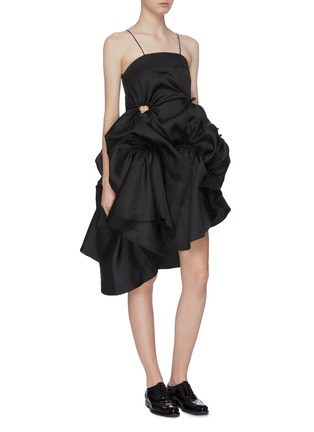 Detail View - Click To Enlarge - SHUSHU/TONG - Detachable tulle underlay gathered ruffle dress