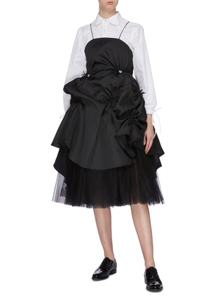 Figure View - Click To Enlarge - SHUSHU/TONG - Detachable tulle underlay gathered ruffle dress