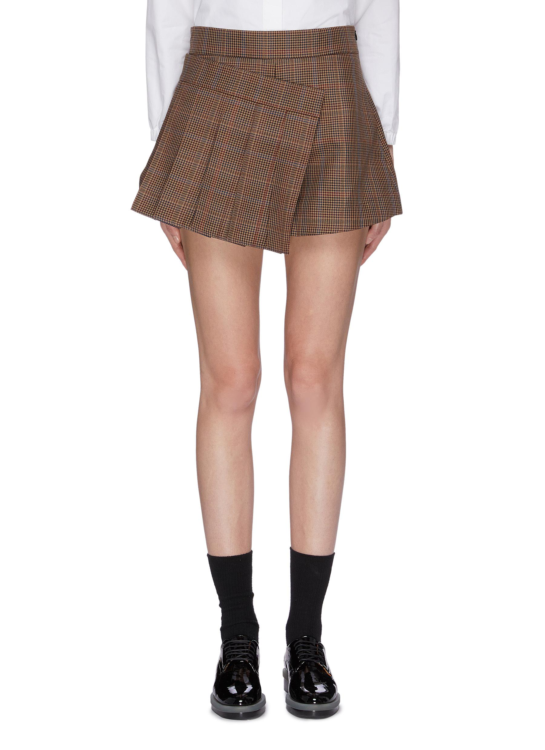 Asymmetric pleated panel houndstooth check plaid skort by Shushu/Tong