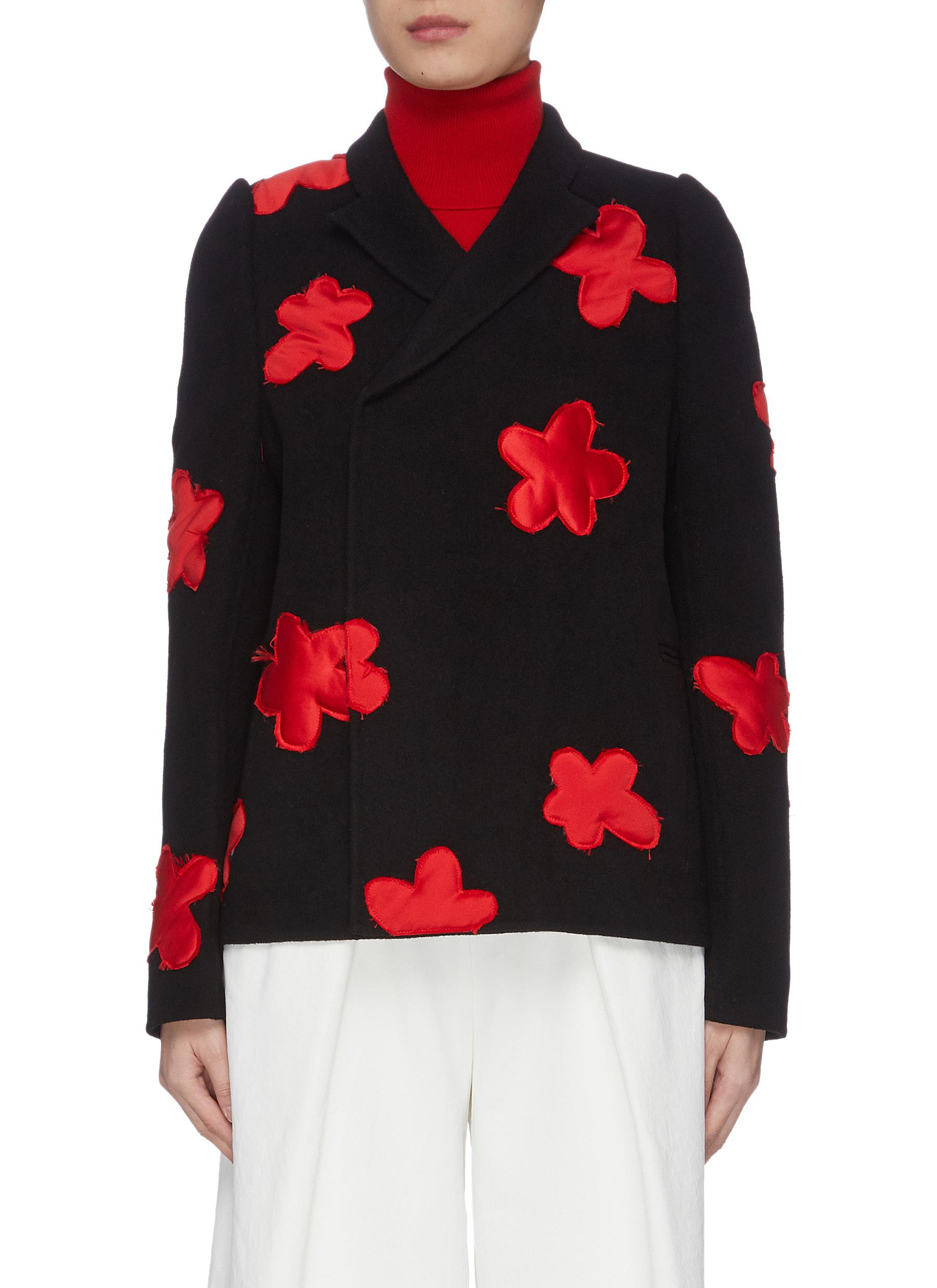 Contrast flower patch puff sleeve jacket by Shushu/Tong