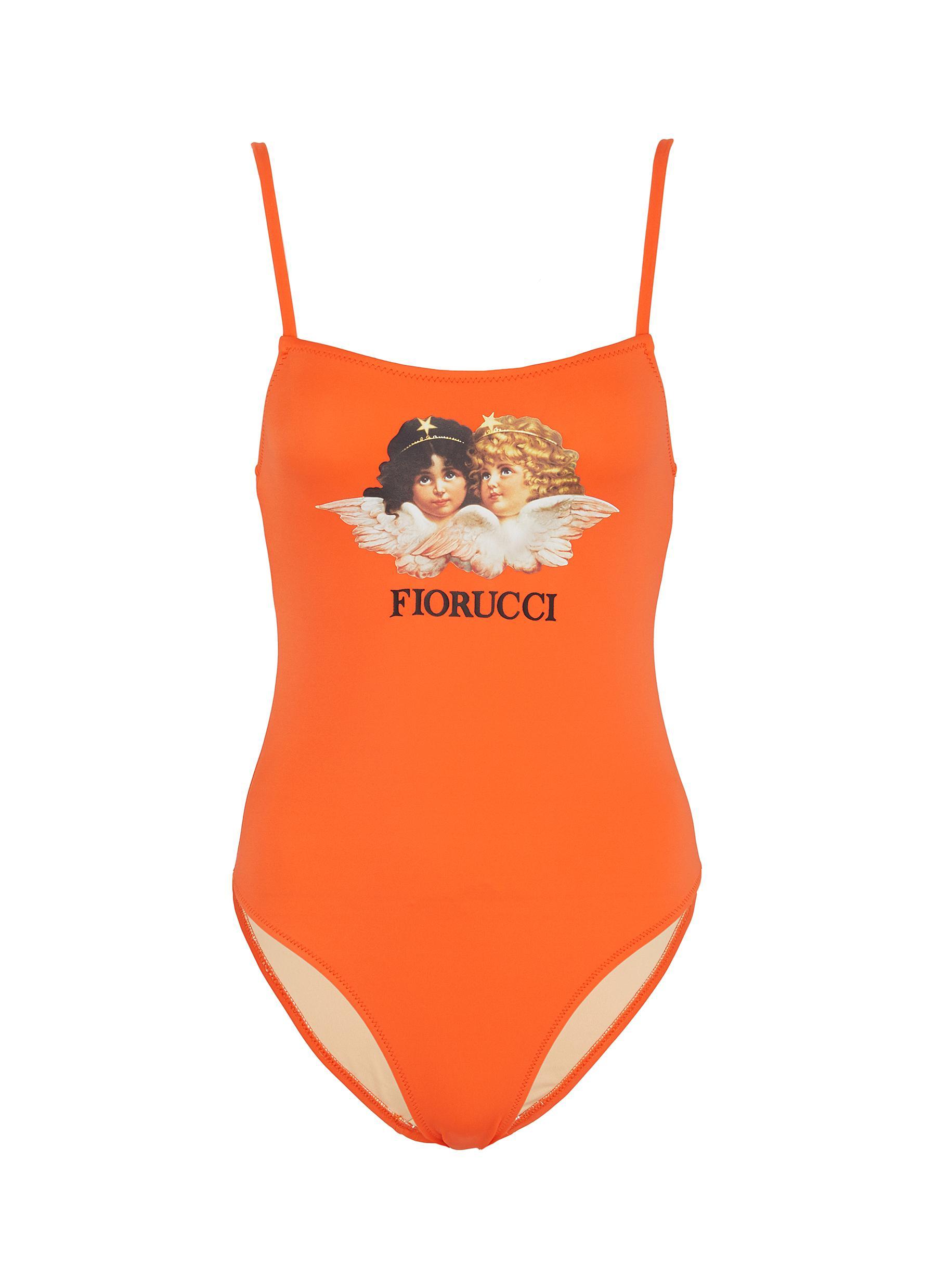 Angel logo print one-piece swimsuit by Fiorucci