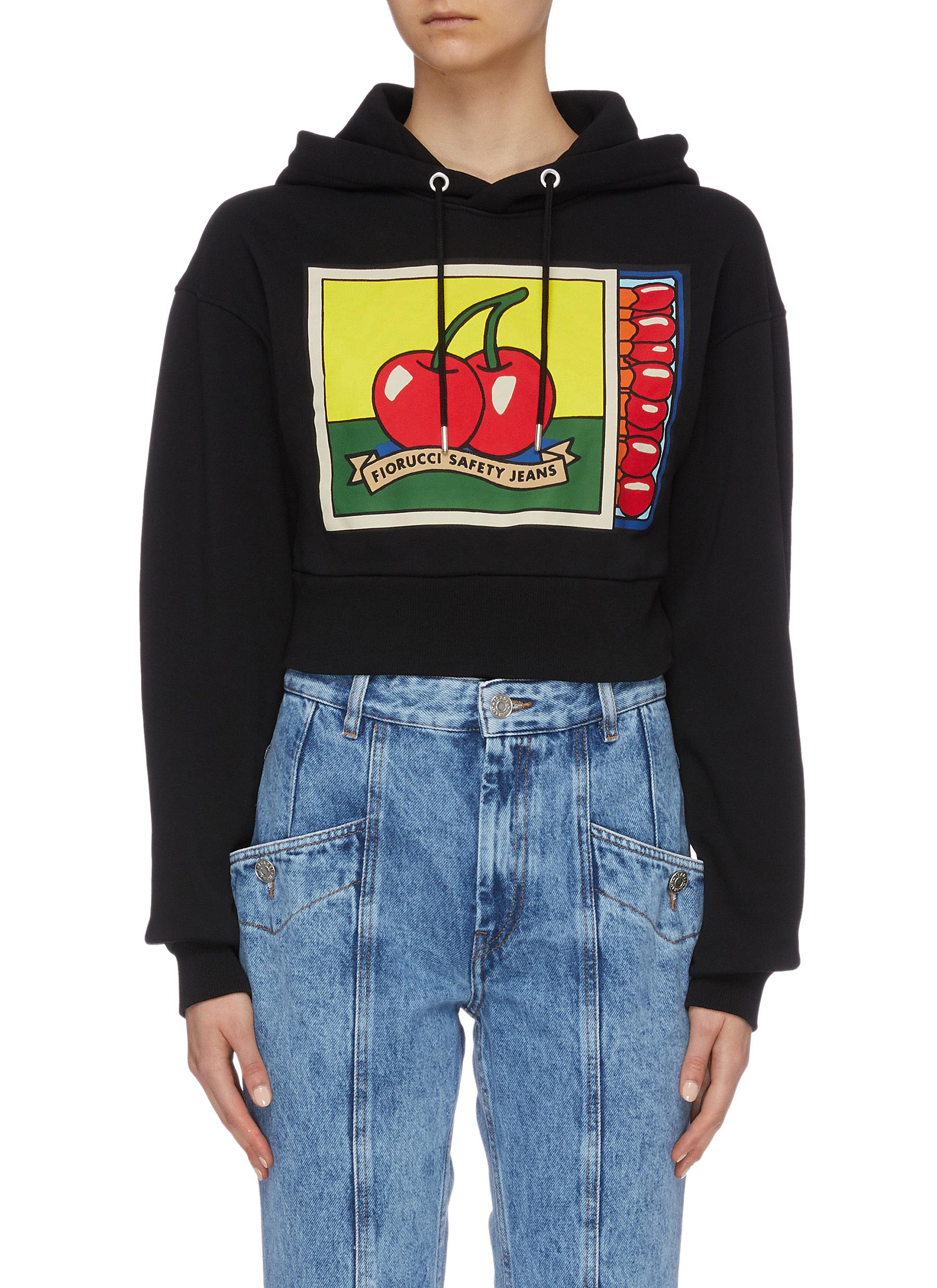 Cherries Matchbox graphic logo print cropped hoodie by Fiorucci