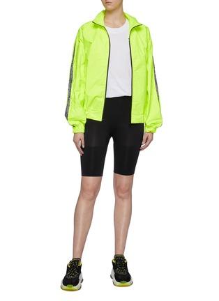 Figure View - Click To Enlarge - FIORUCCI - 'Tyvek' logo stripe sleeve bomber jacket