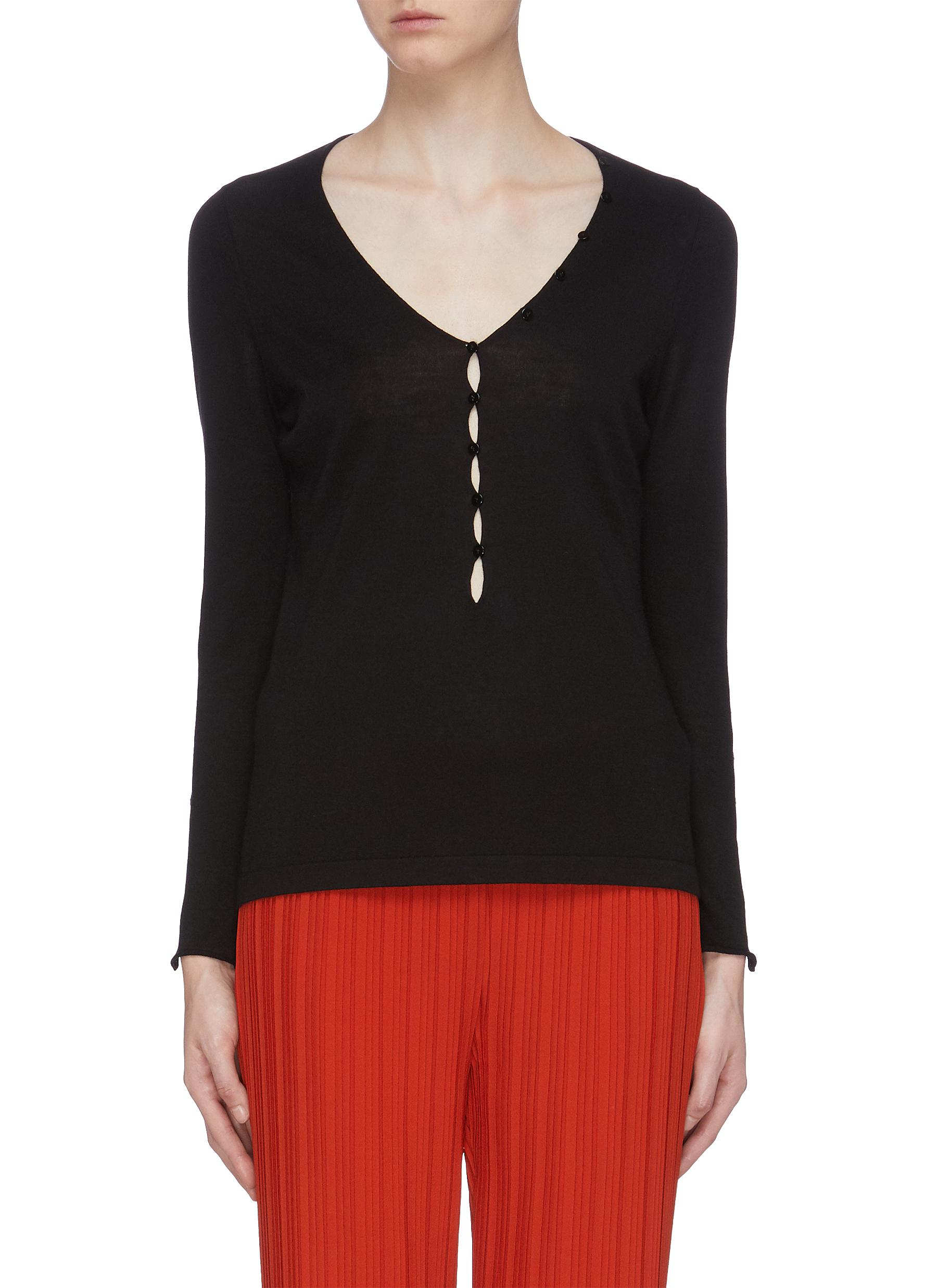 Keyhole front cashmere-silk V-neck sweater by Crush Collection