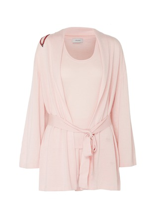 Main View - Click To Enlarge - CRUSH COLLECTION - Graphic embroidered silk-cashmere belted robe set