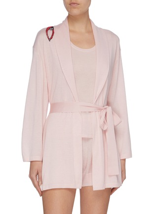 Figure View - Click To Enlarge - CRUSH COLLECTION - Graphic embroidered silk-cashmere belted robe set