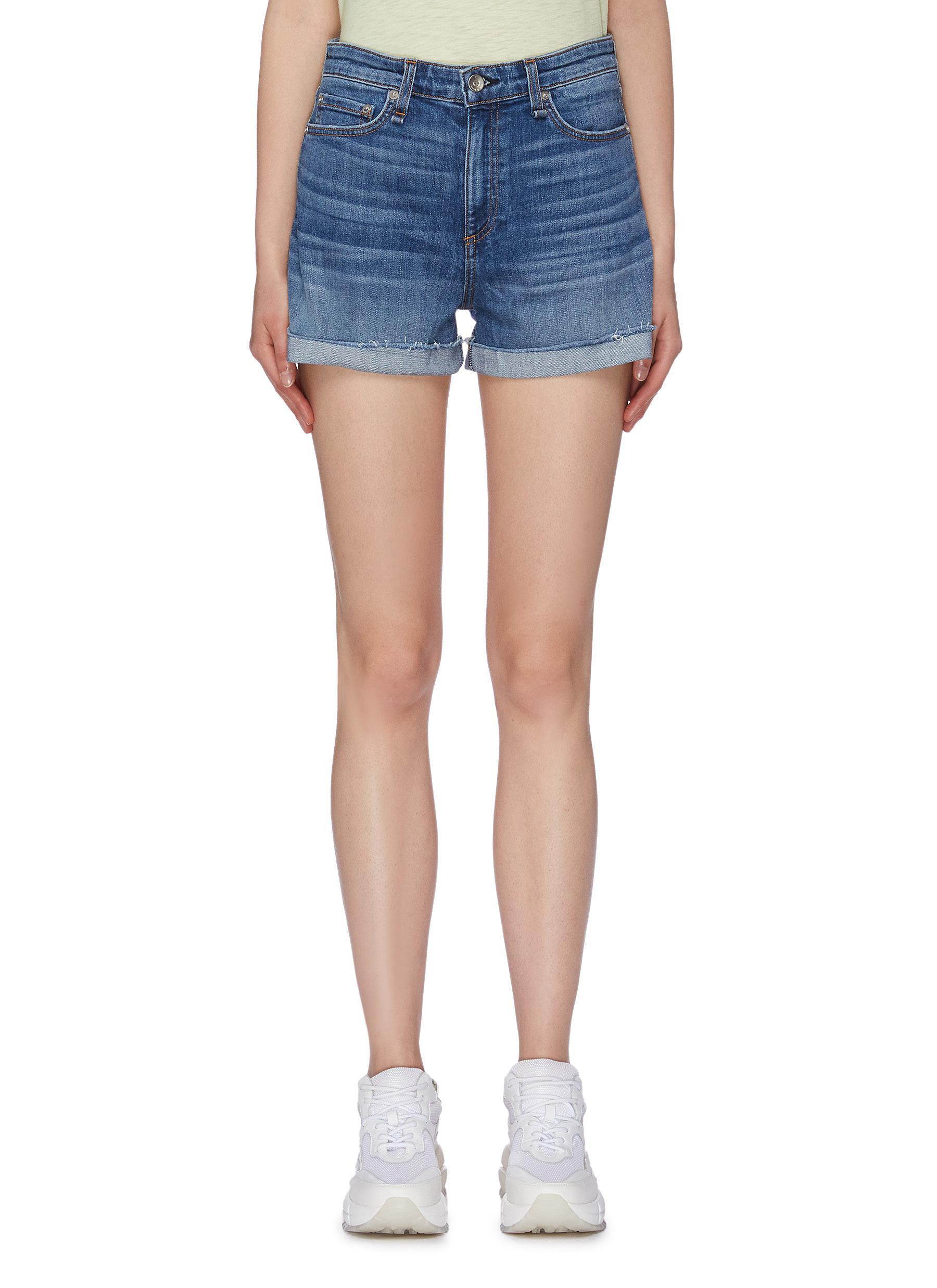 Nina raw roll cuff denim shorts by Rag & Bone/Jean