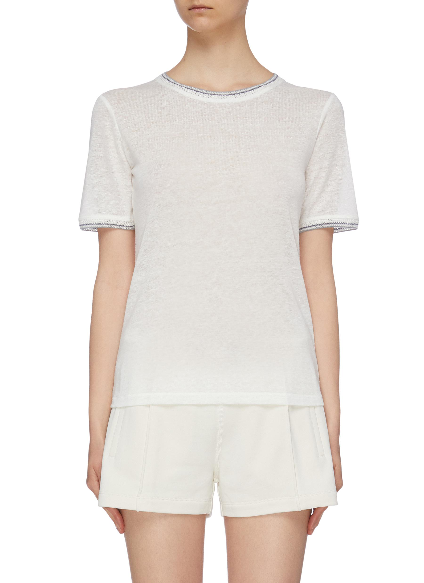 Molly crochet stripe border linen T-shirt by Rag & Bone/Jean