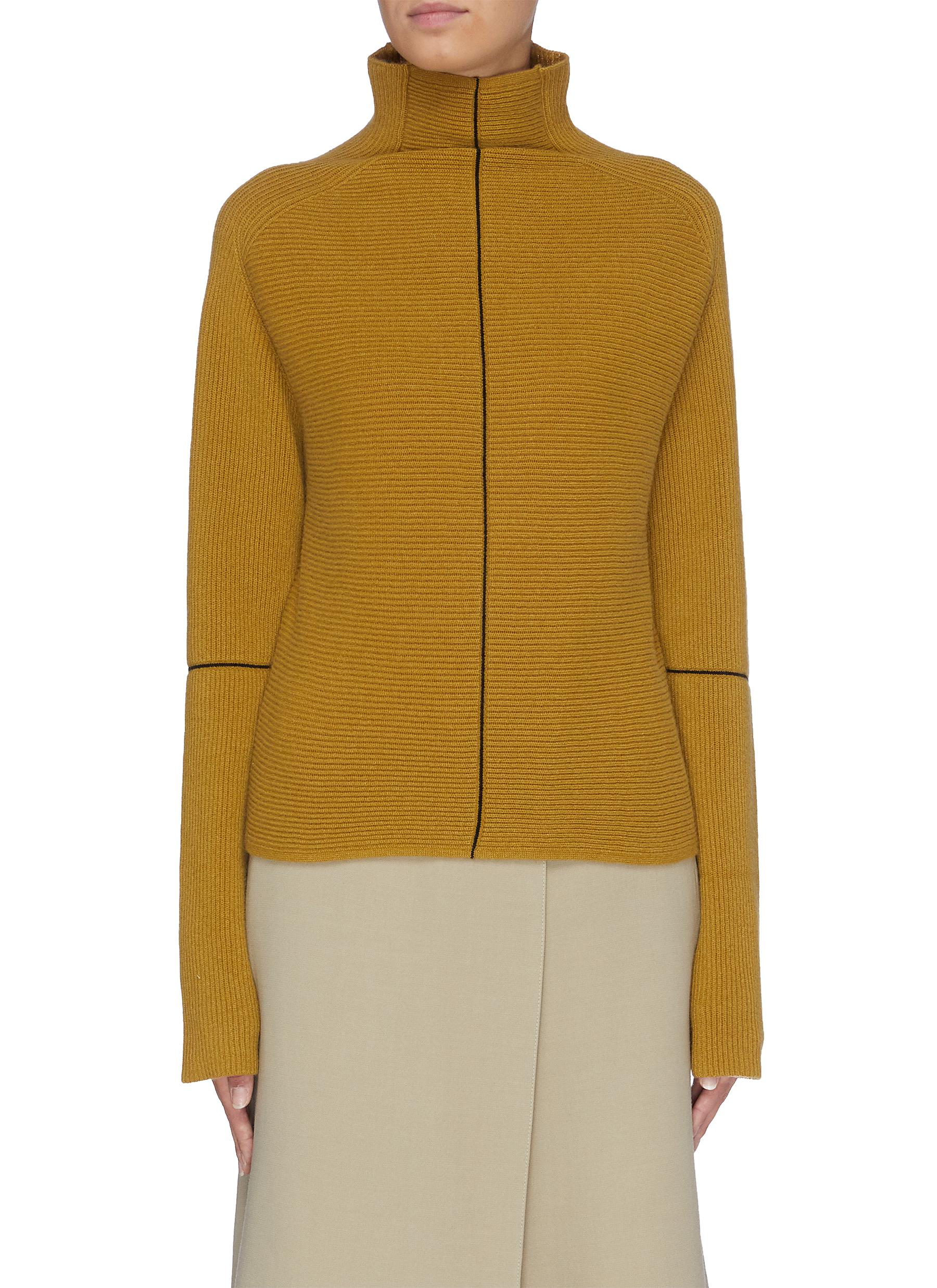 Panelled rib knit high neck sweater by Petar Petrov