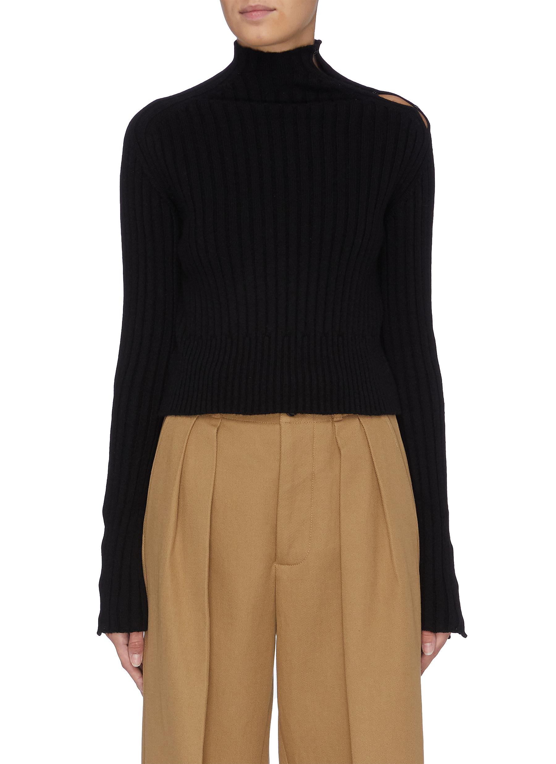 Hook-and-eye cold shoulder rib knit high neck sweater by Petar Petrov