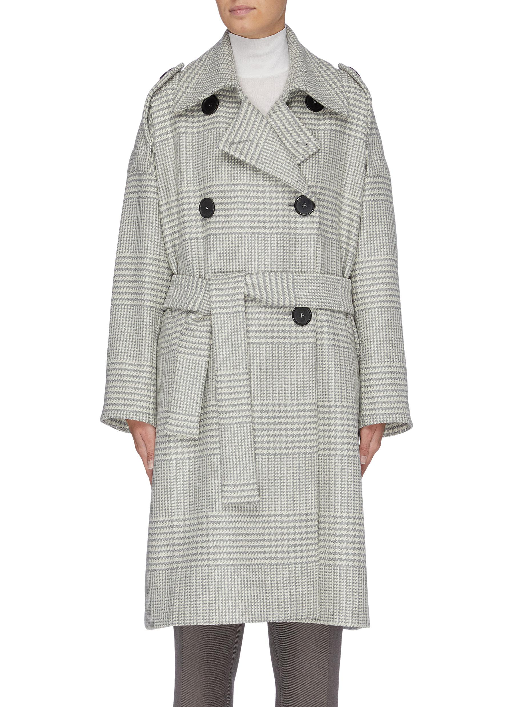 Belted houndstooth check double breasted coat by Petar Petrov