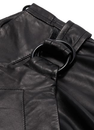 - PETAR PETROV - Buckled asymmetric drape leather wrap skirt