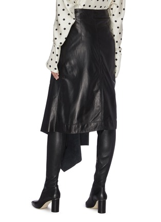Back View - Click To Enlarge - PETAR PETROV - Buckled asymmetric drape leather wrap skirt