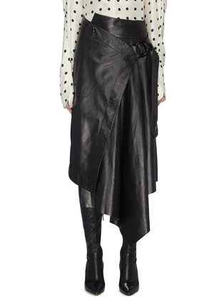 Main View - Click To Enlarge - PETAR PETROV - Buckled asymmetric drape leather wrap skirt