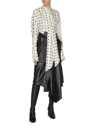 Figure View - Click To Enlarge - PETAR PETROV - Buckled asymmetric drape leather wrap skirt