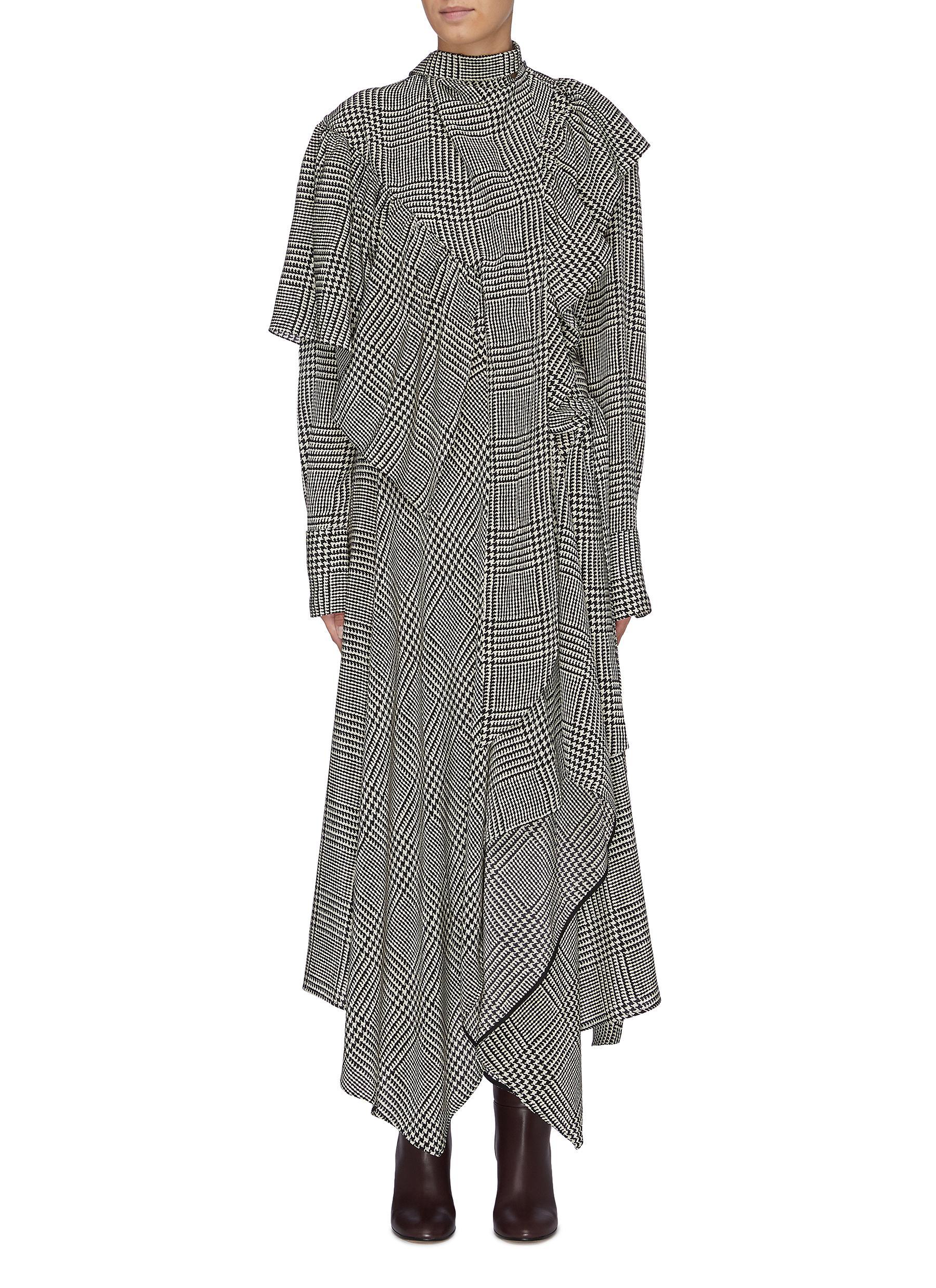 Sash tie neck asymmetric ruffle houndstooth check dress by Petar Petrov