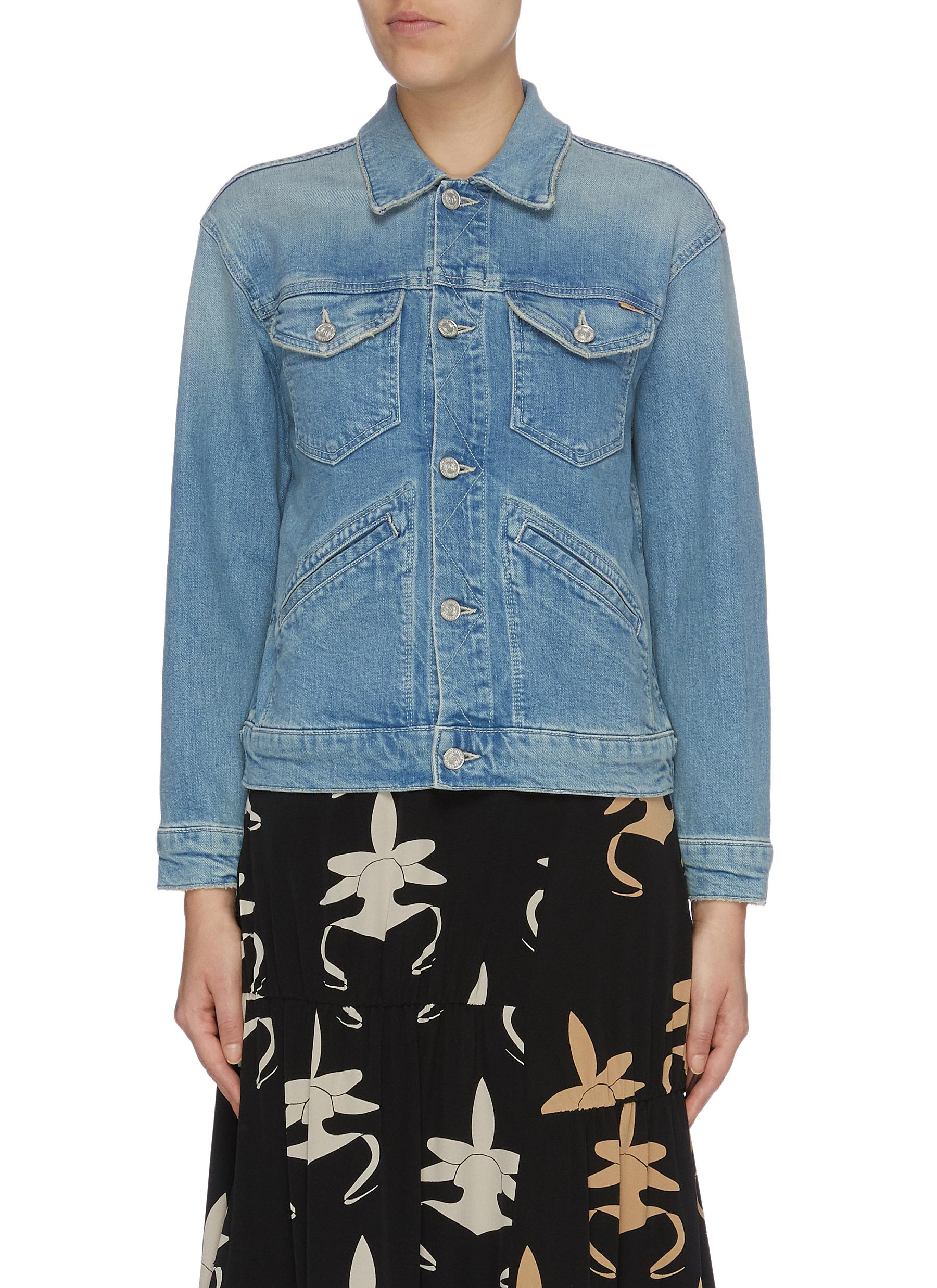 The Shrunken Mountain Drifter graphic embroidered denim jacket by Mother