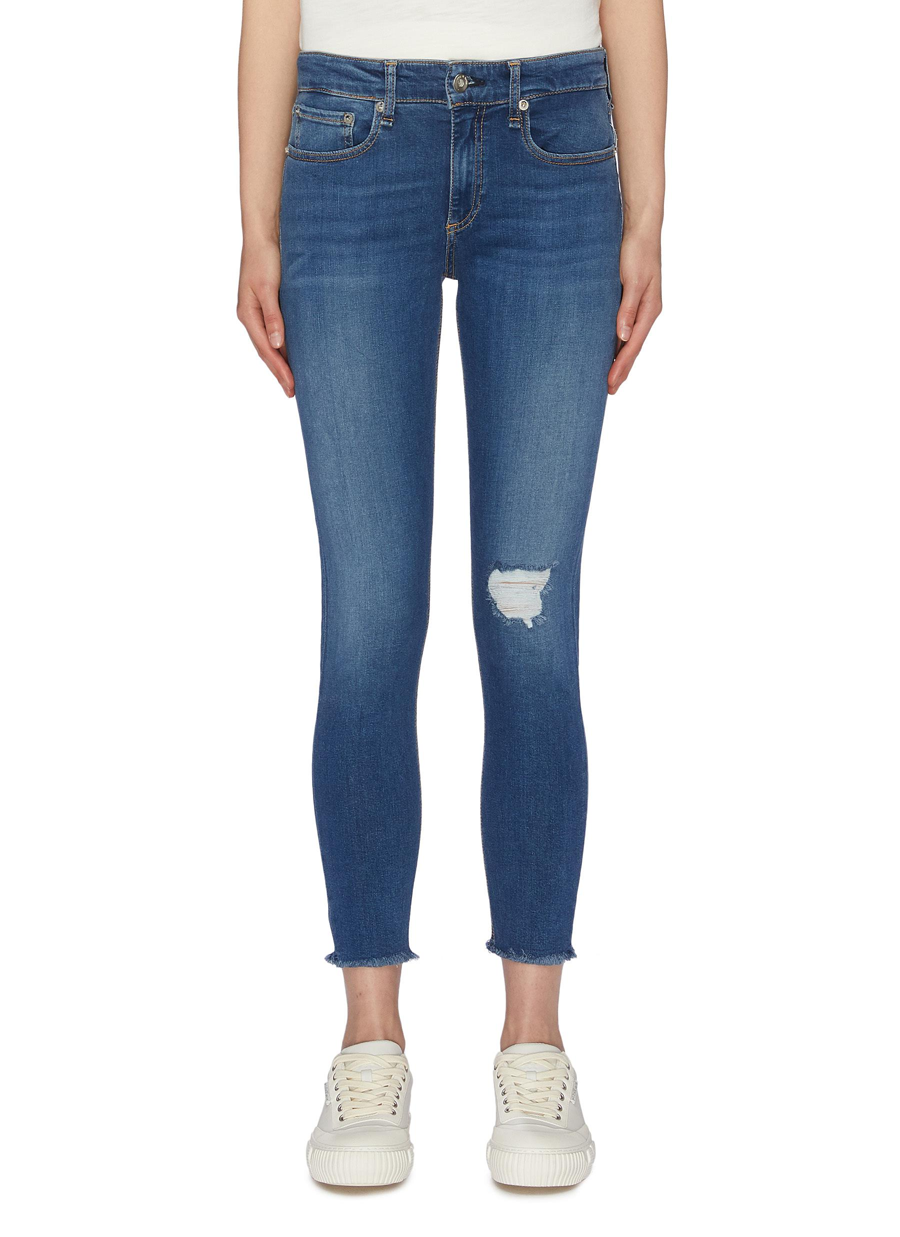 Cate frayed cuff ripped knee skinny jeans by Rag & Bone/Jean