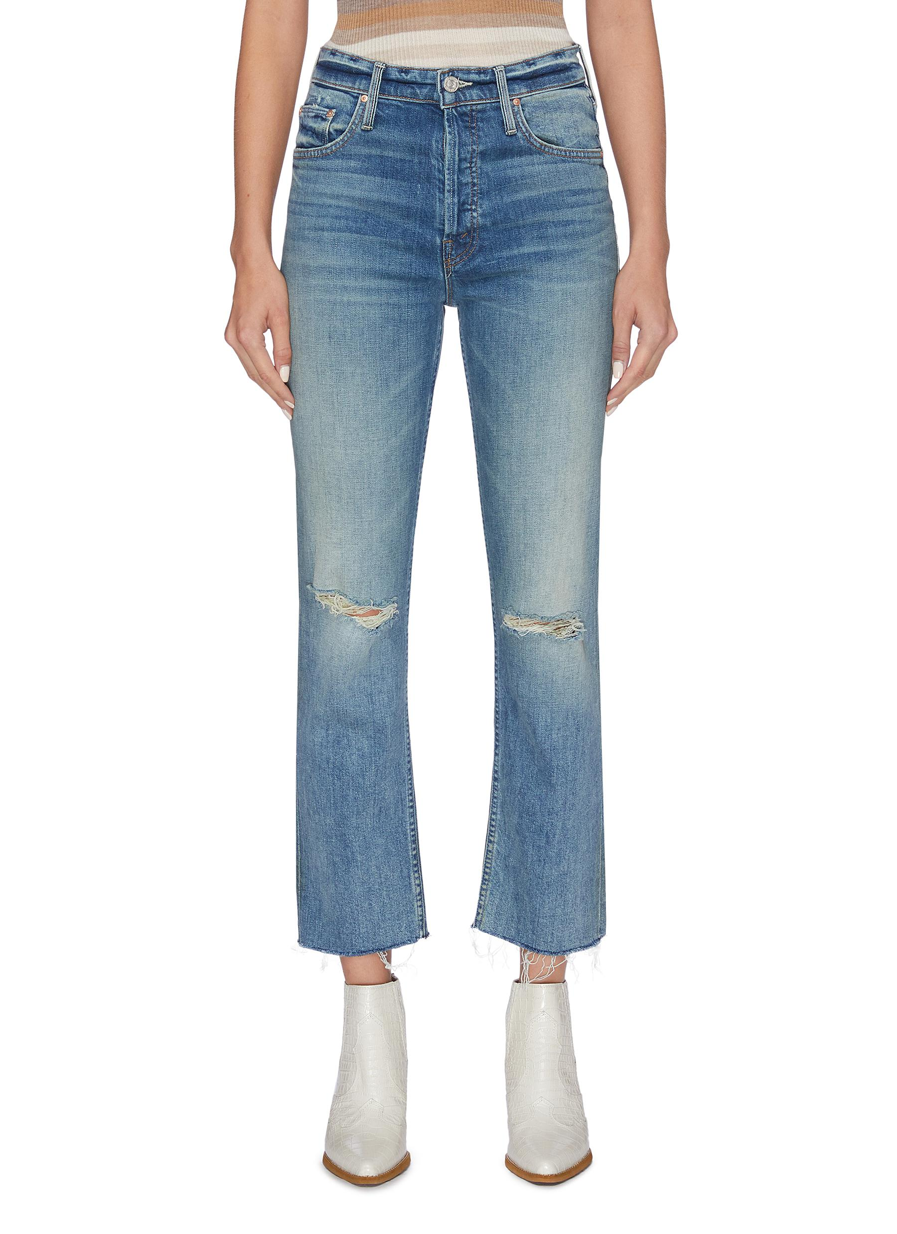 The Tomcat Ankle Fray ripped knee cropped jeans by Mother