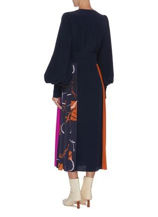 Back View - Click To Enlarge - ROKSANDA - 'Teruko' bishop sleeve colourblock drape dress