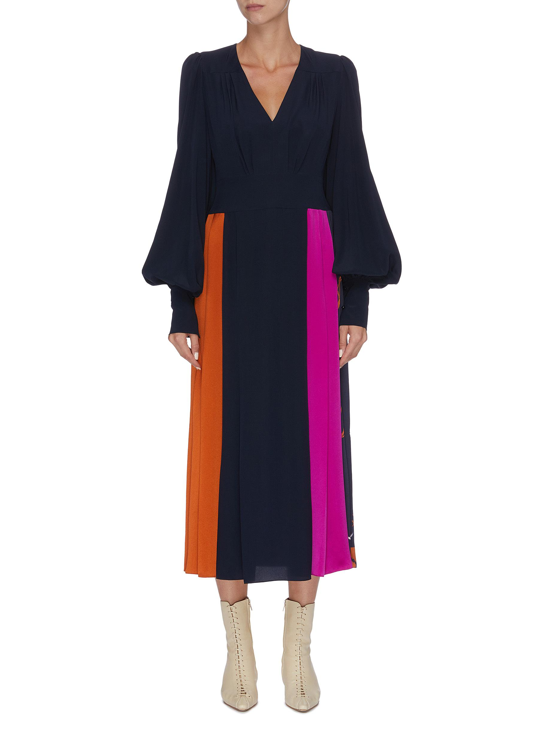Teruko bishop sleeve colourblock drape dress by Roksanda
