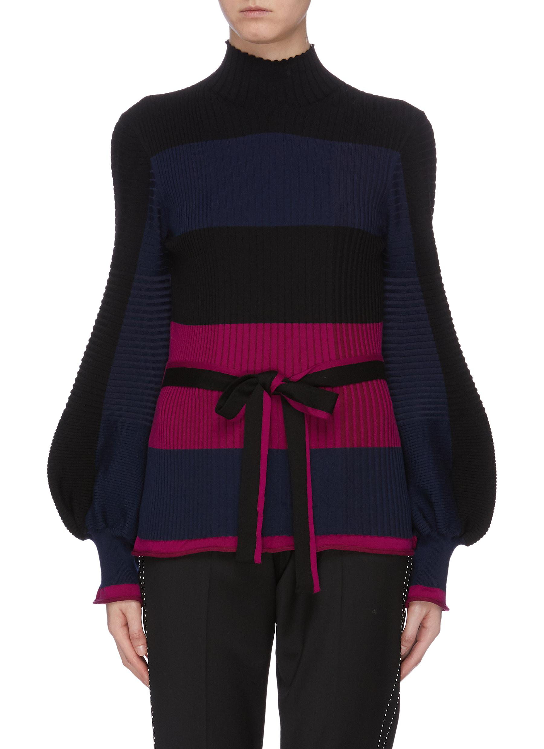 Auric belted bishop sleeve colourblock stripe knit top by Roksanda