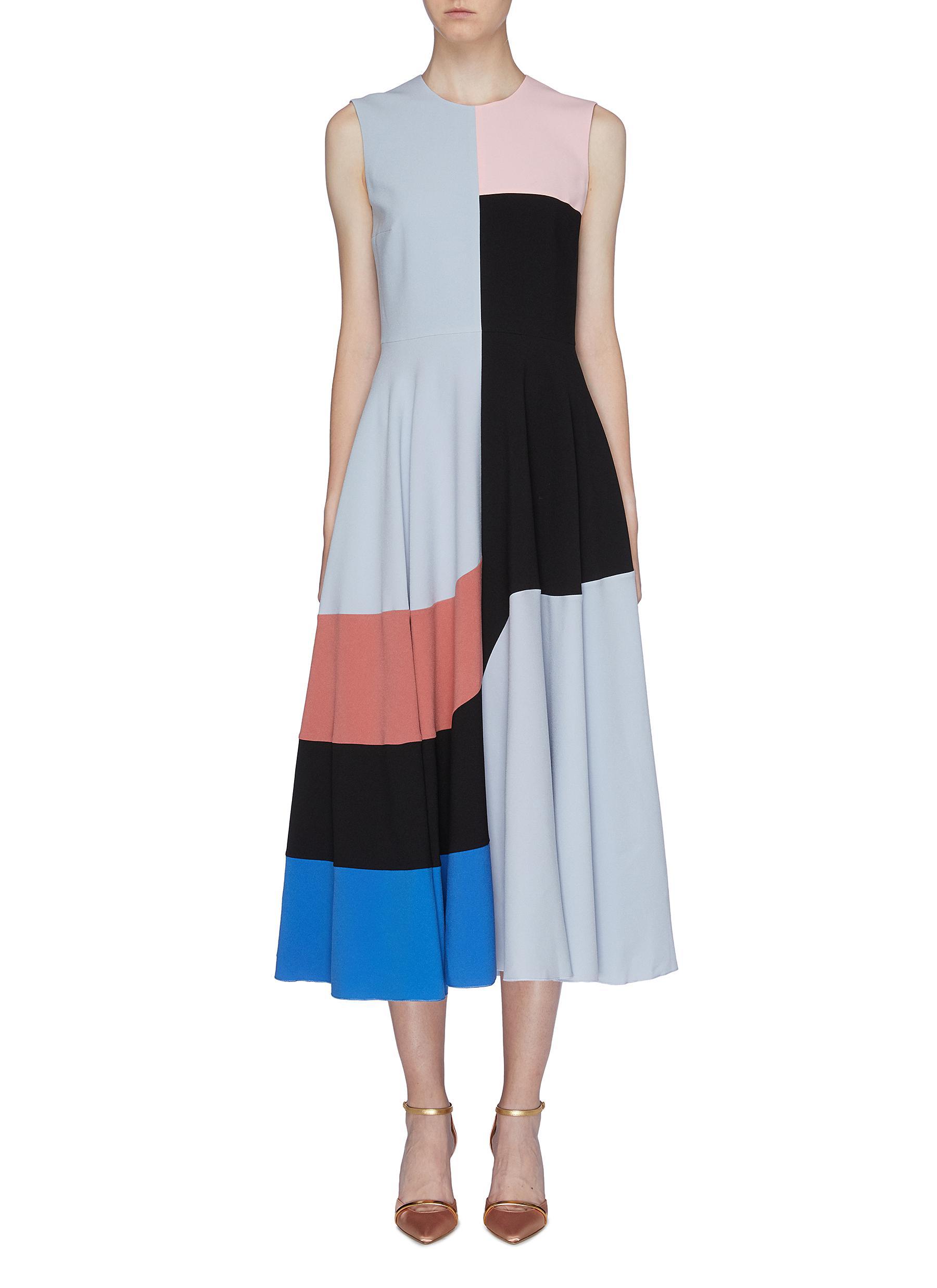 Joanna colourblock flared sleeveless dress by Roksanda